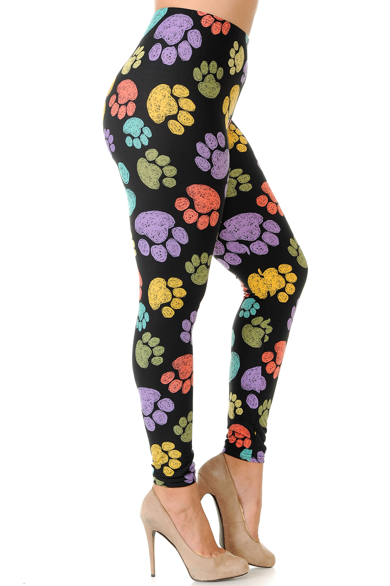 Right side of Creamy Soft Colorful Paw Print Plus Size Leggings - USA Fashion™