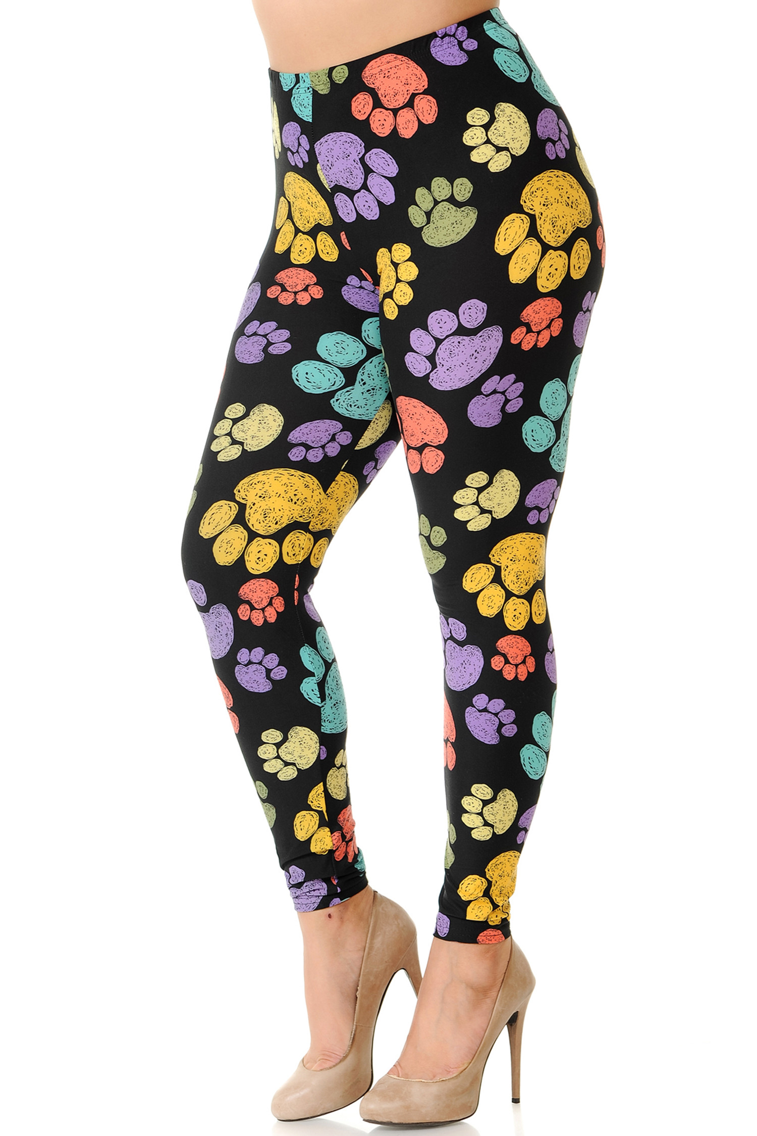 45 degree image of Creamy Soft Colorful Paw Print Extra Plus Size Leggings - 3X-5X - USA Fashion™ with a vibrant print on a black fabric base.