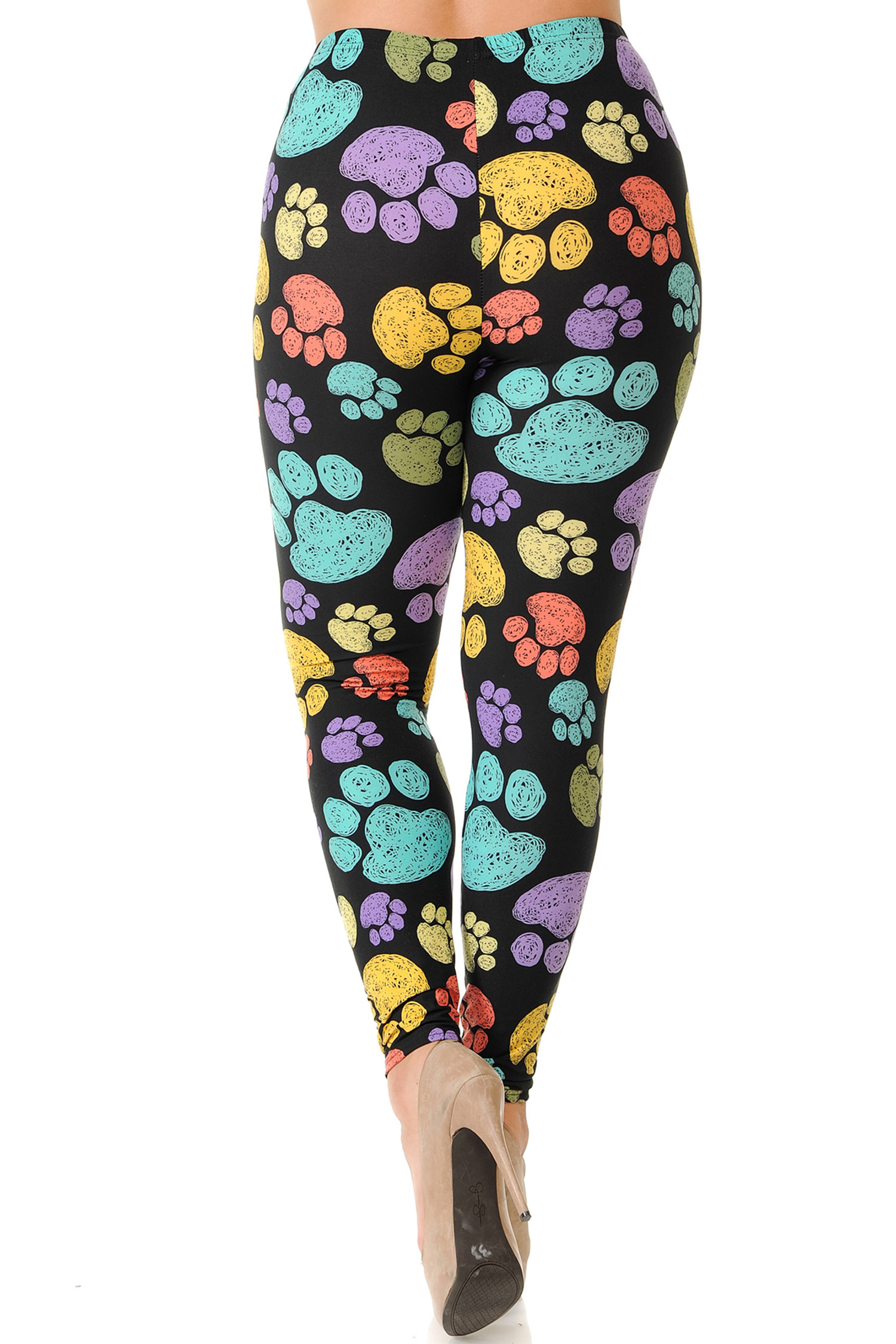Rear view of Creamy Soft Colorful Paw Print Extra Plus Size Leggings - 3X-5X - USA Fashion™