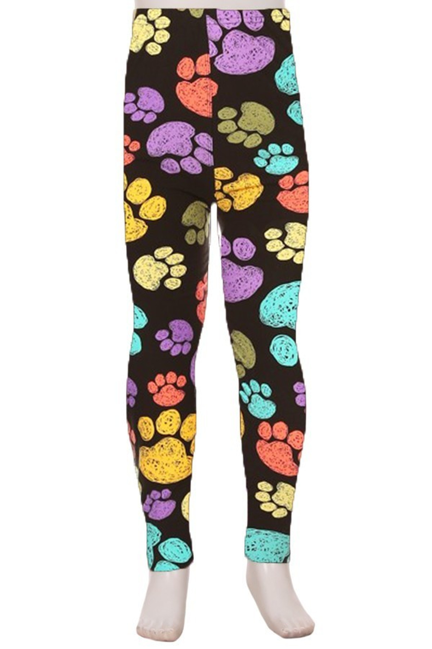 Front of Creamy Soft Colorful Paw Print Kids Leggings - USA Fashion™ with a colorful design on a black fabric base.