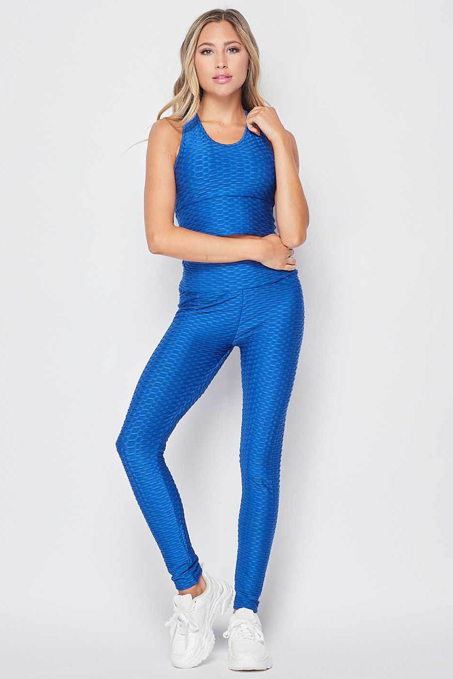 Front side view of Blue 2 Piece Scrunch Butt Leggings and Crop Top Set