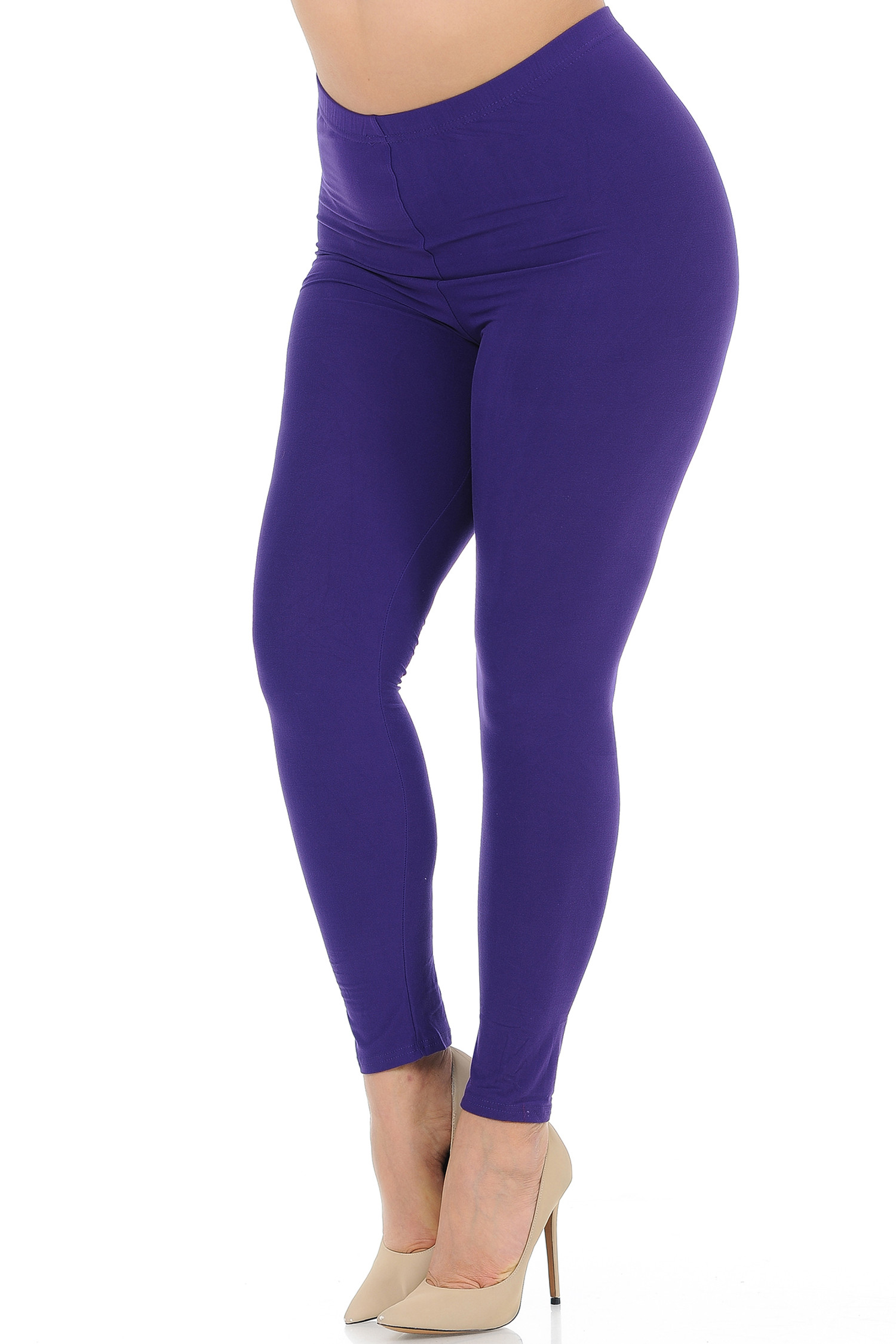 45 degree view of Purple Buttery Soft Basic Solid Extra Plus Size Leggings - 3X-5X - New Mix