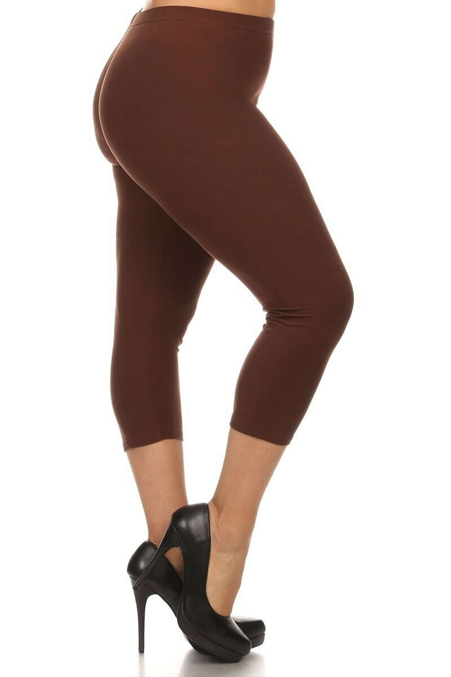 Right side view of Brown Buttery Soft Basic Solid Extra Plus Size Capris - 3X-5X - New Mix