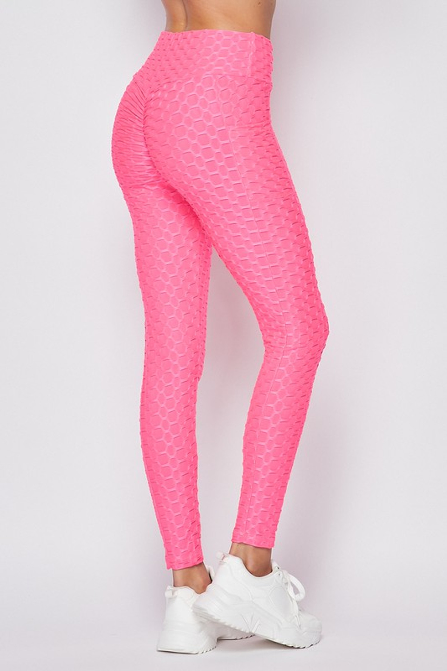 45 degree back right side of Pink Scrunch Butt Popcorn Textured High Waisted Leggings with Pockets - Zinati (W&J)