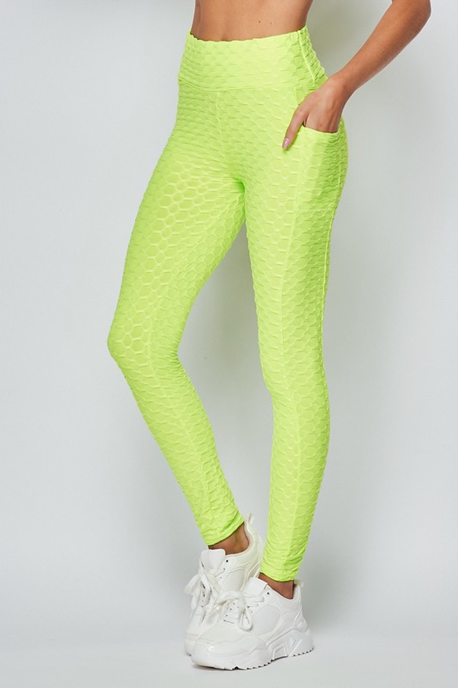 45 degree view of Neon Green Scrunch Butt Popcorn Textured High Waisted Leggings with Pockets - Zinati (W&J)