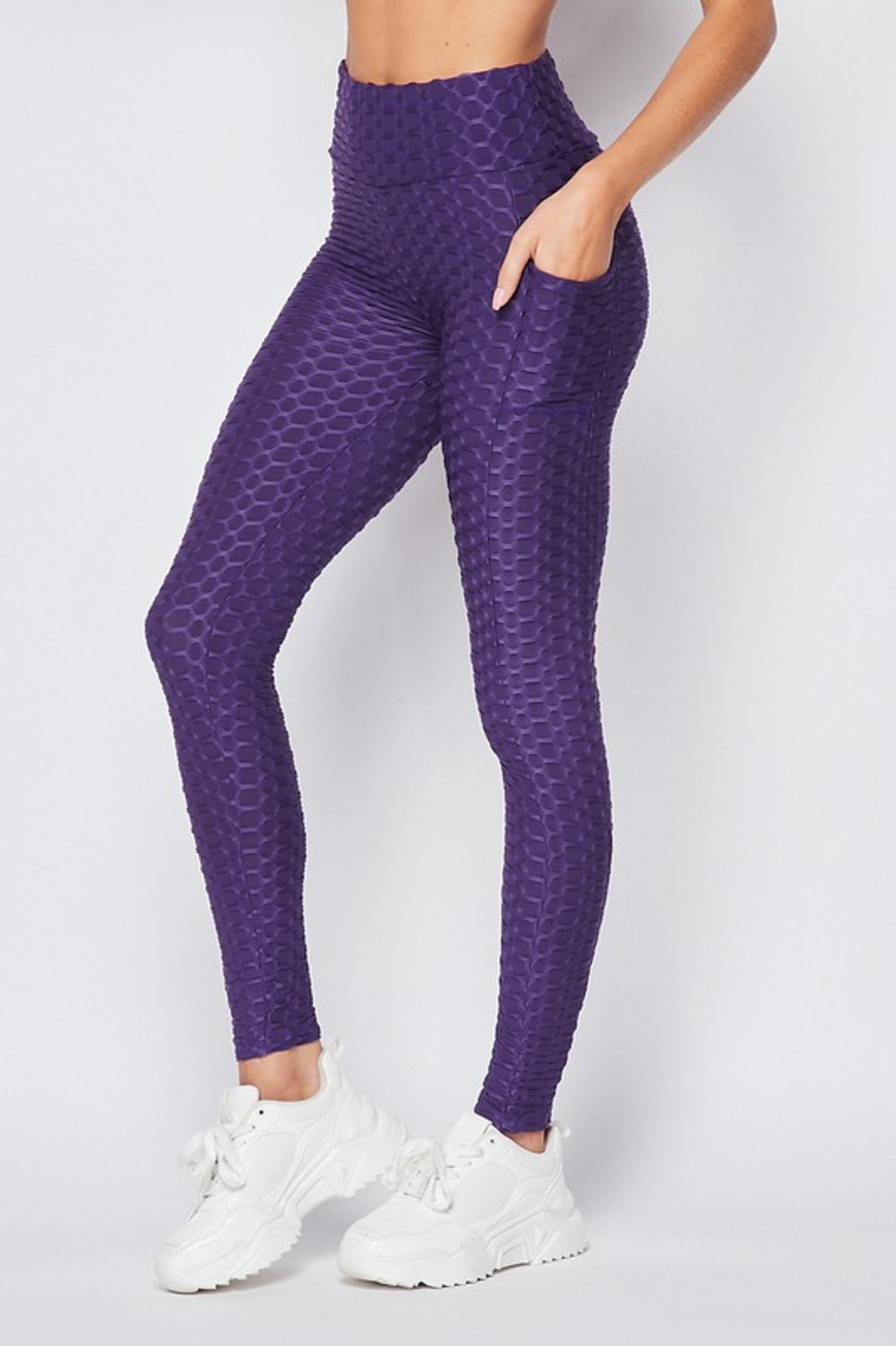 45 degree view of  Purple Scrunch Butt Popcorn Textured High Waisted Leggings with Pockets - Zinati (W&J)