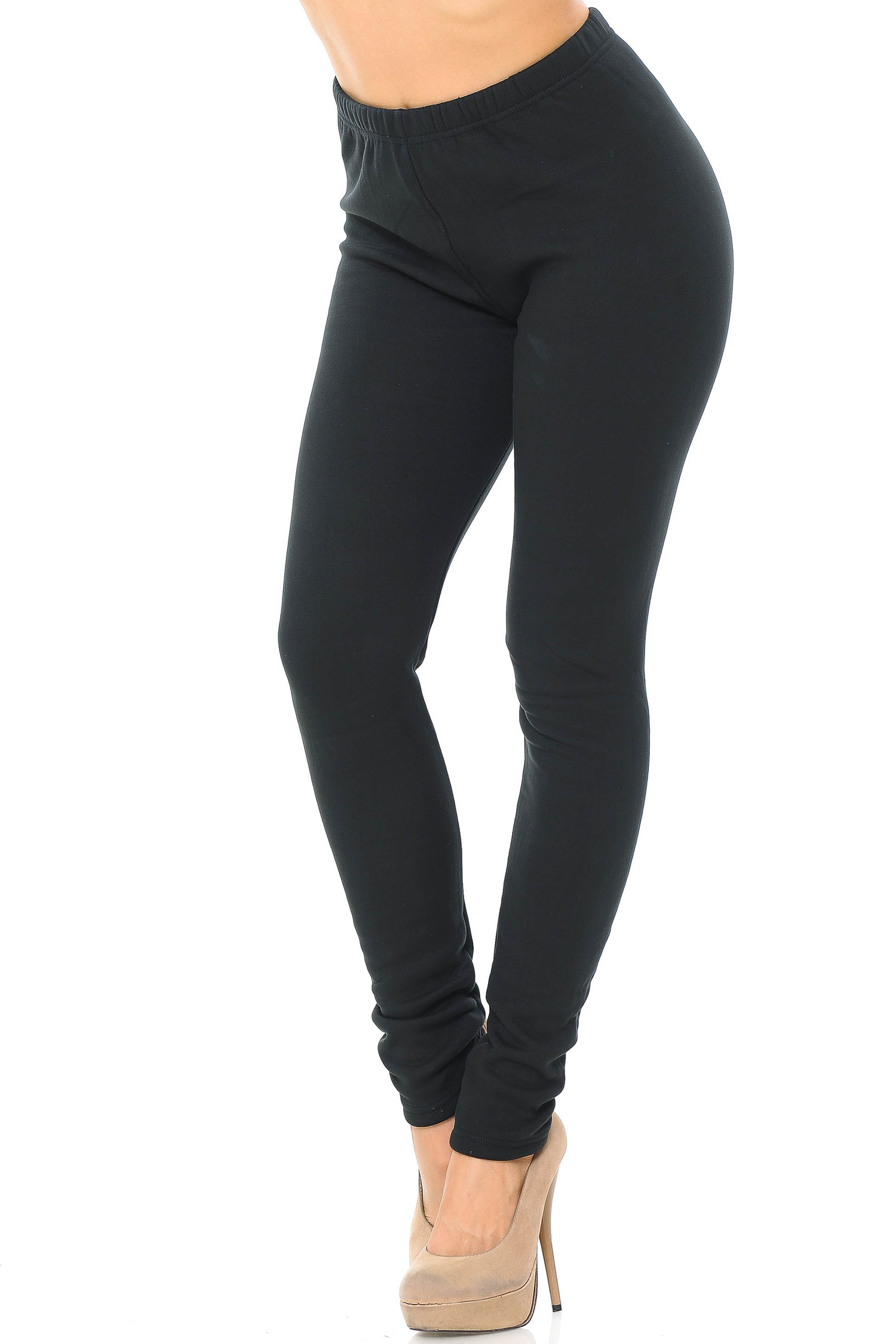 45 degree view of solid black Creamy Soft Fleece Lined Leggings - USA Fashion™