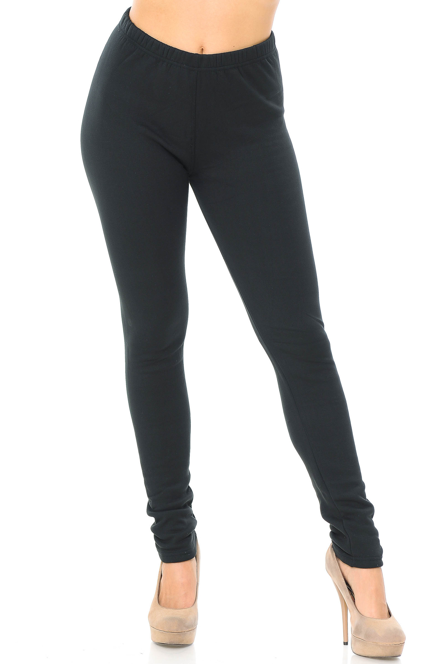 Front view of Luxury Creamy Soft Fleece Lined Extra Plus Size Leggings - 3X-5X - USA Fashion™