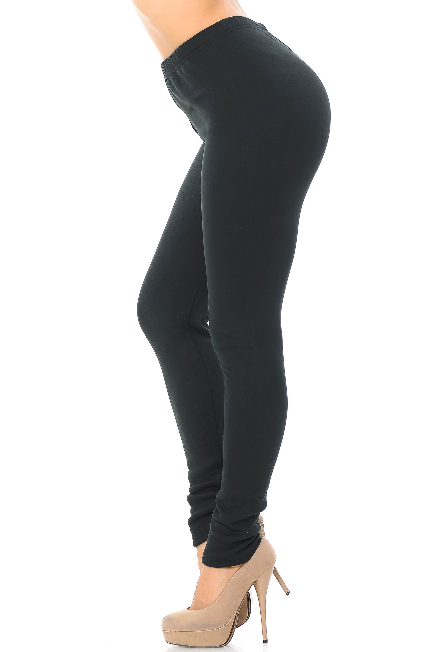 Left side of Luxury Creamy Soft Fleece Lined Extra Plus Size Leggings - 3X-5X - USA Fashion™