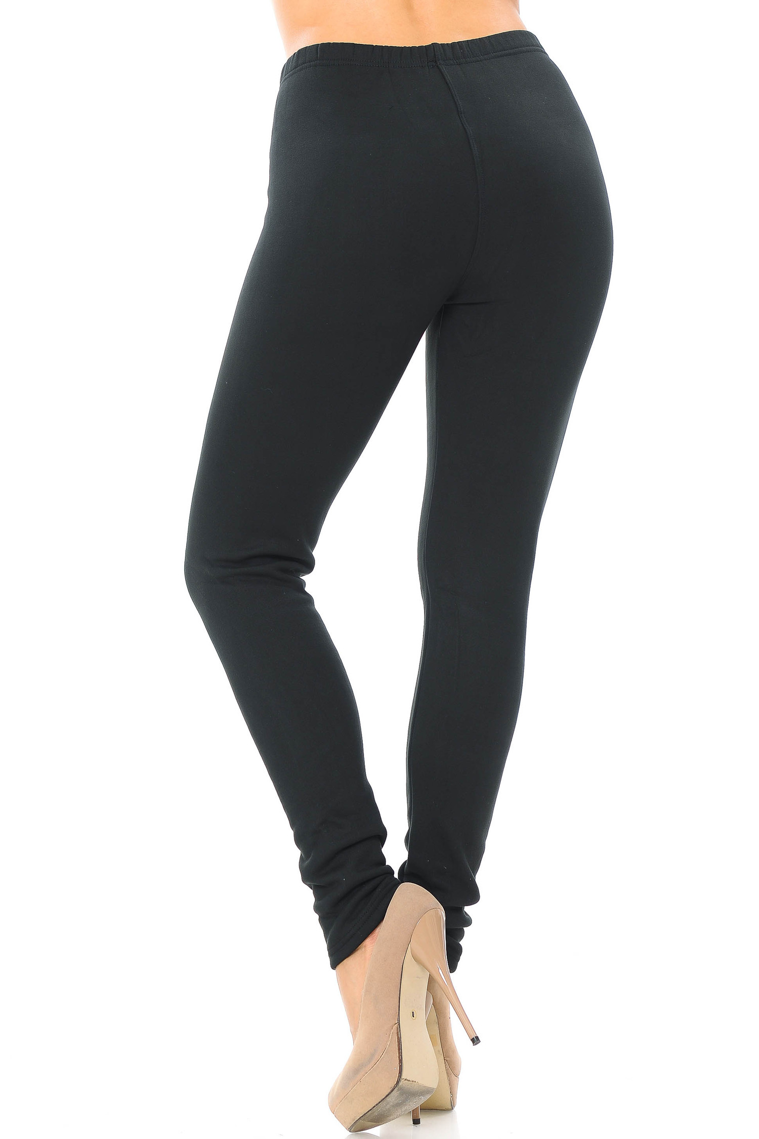 Back side view of Luxury Creamy Soft Fleece Lined Extra Plus Size Leggings - 3X-5X - USA Fashion™