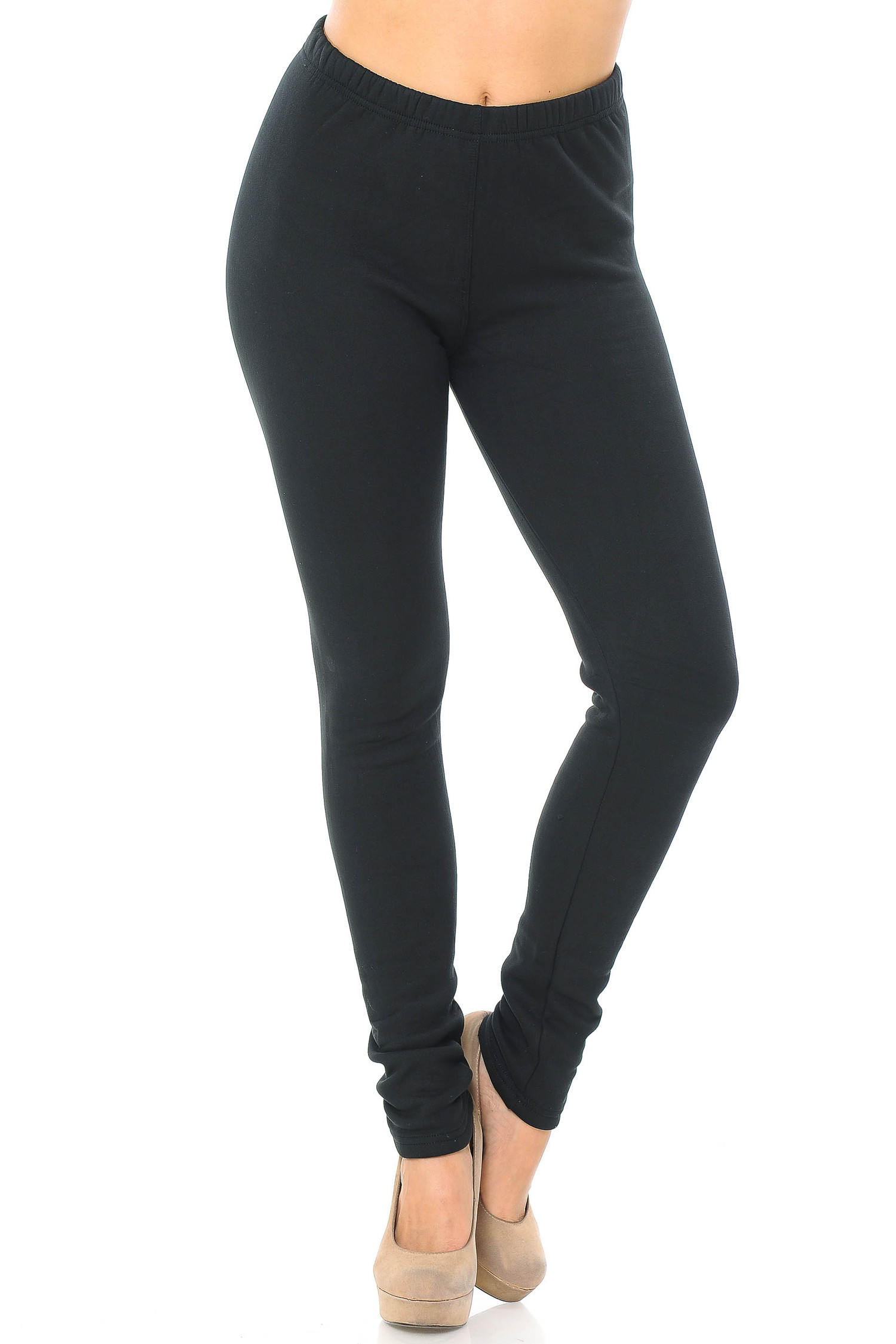 Front side bent knee view of Luxury Creamy Soft Fleece Lined Extra Plus Size Leggings - 3X-5X - USA Fashion™