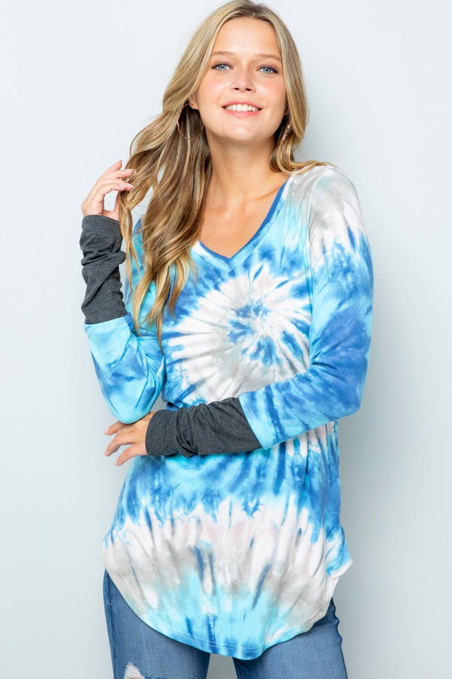 Aqua Tie Dye Contrast Cuff Long Sleeve Plus Size V Neck Top