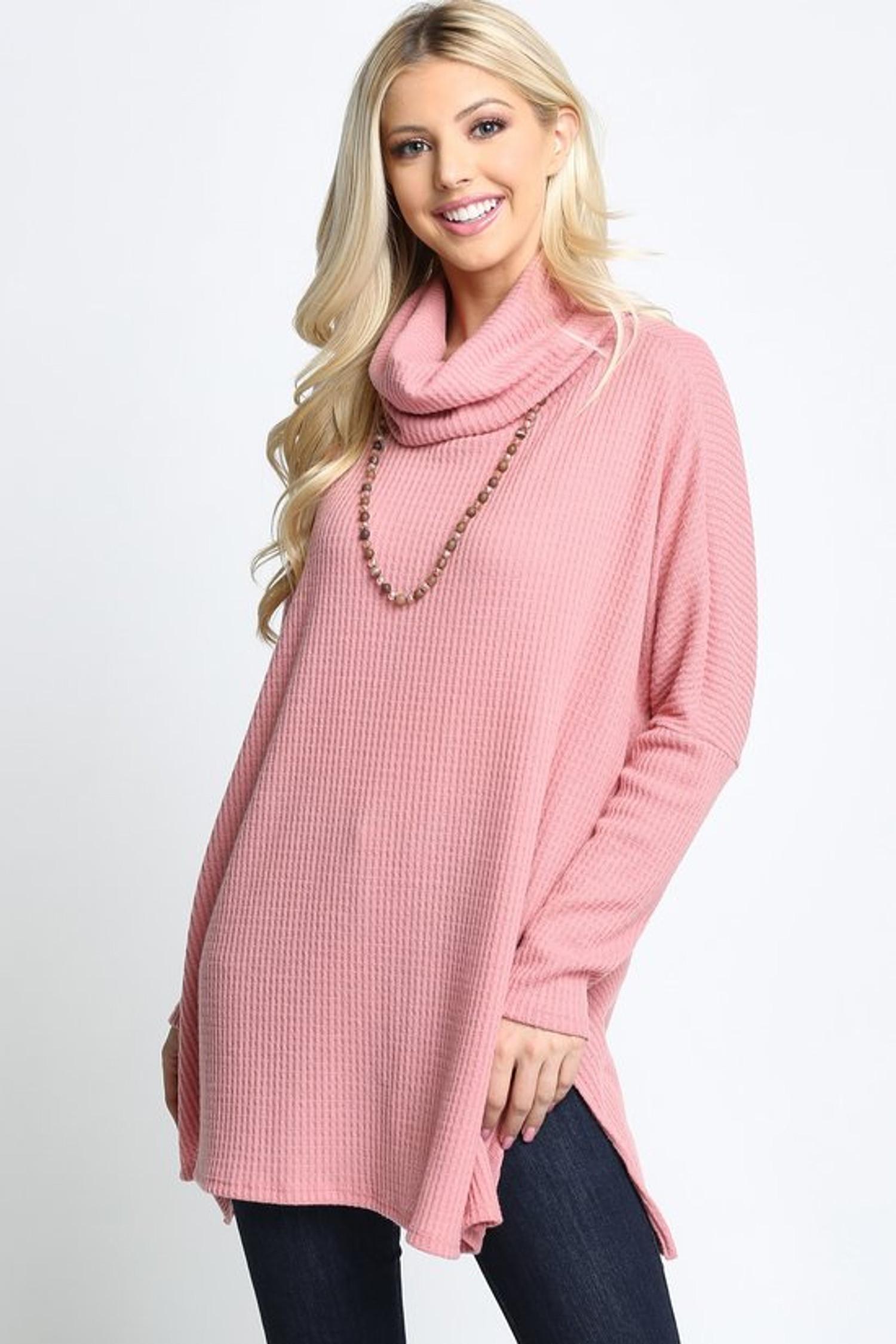 Mauve Waffle Knit Cowl Neck Dolman Sleeve Plus Size Top