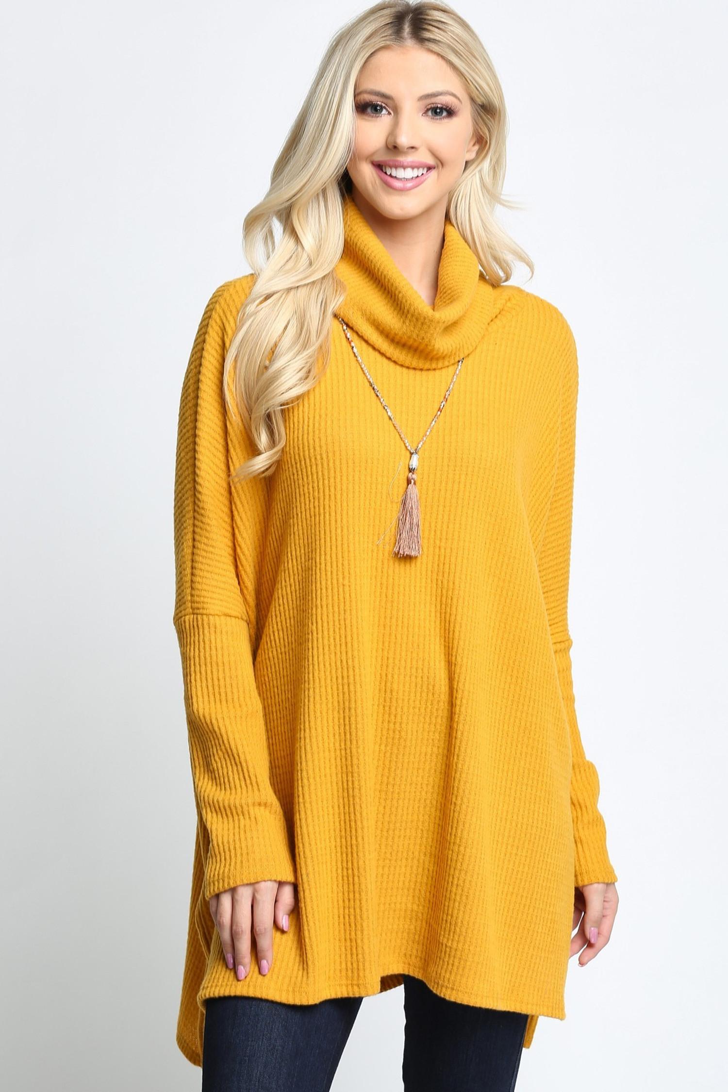 Mustard Waffle Knit Cowl Neck Dolman Sleeve Top