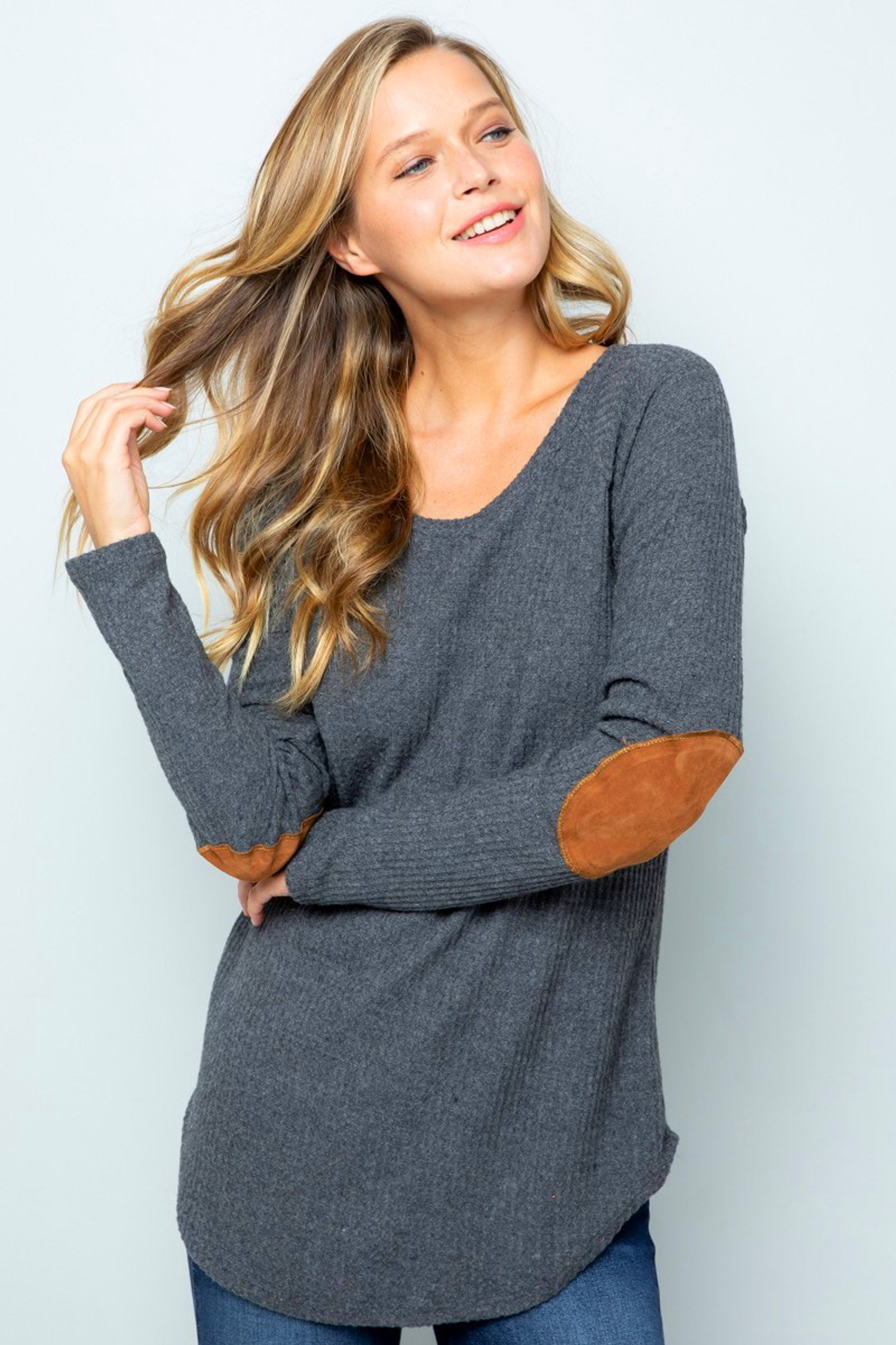Charcoal Waffle Knit Elbow Contrast V Neck Long Sleeve Plus Size Top