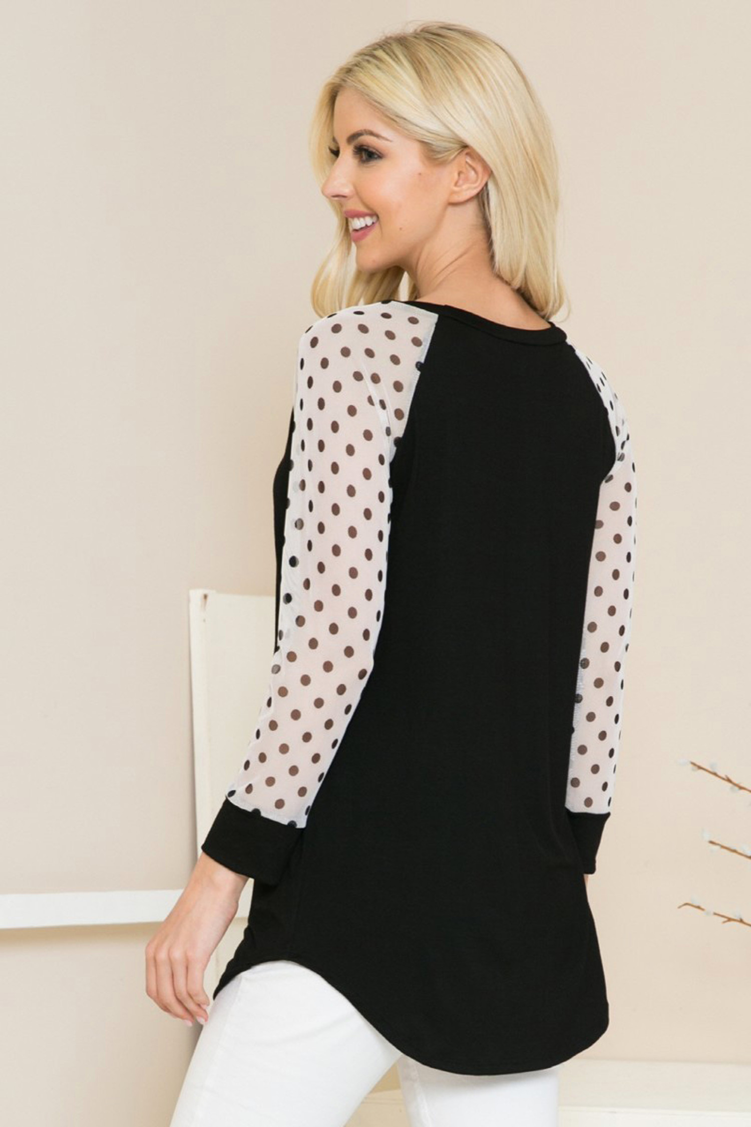Polka Dot Mesh Contrast Long Sleeve Top
