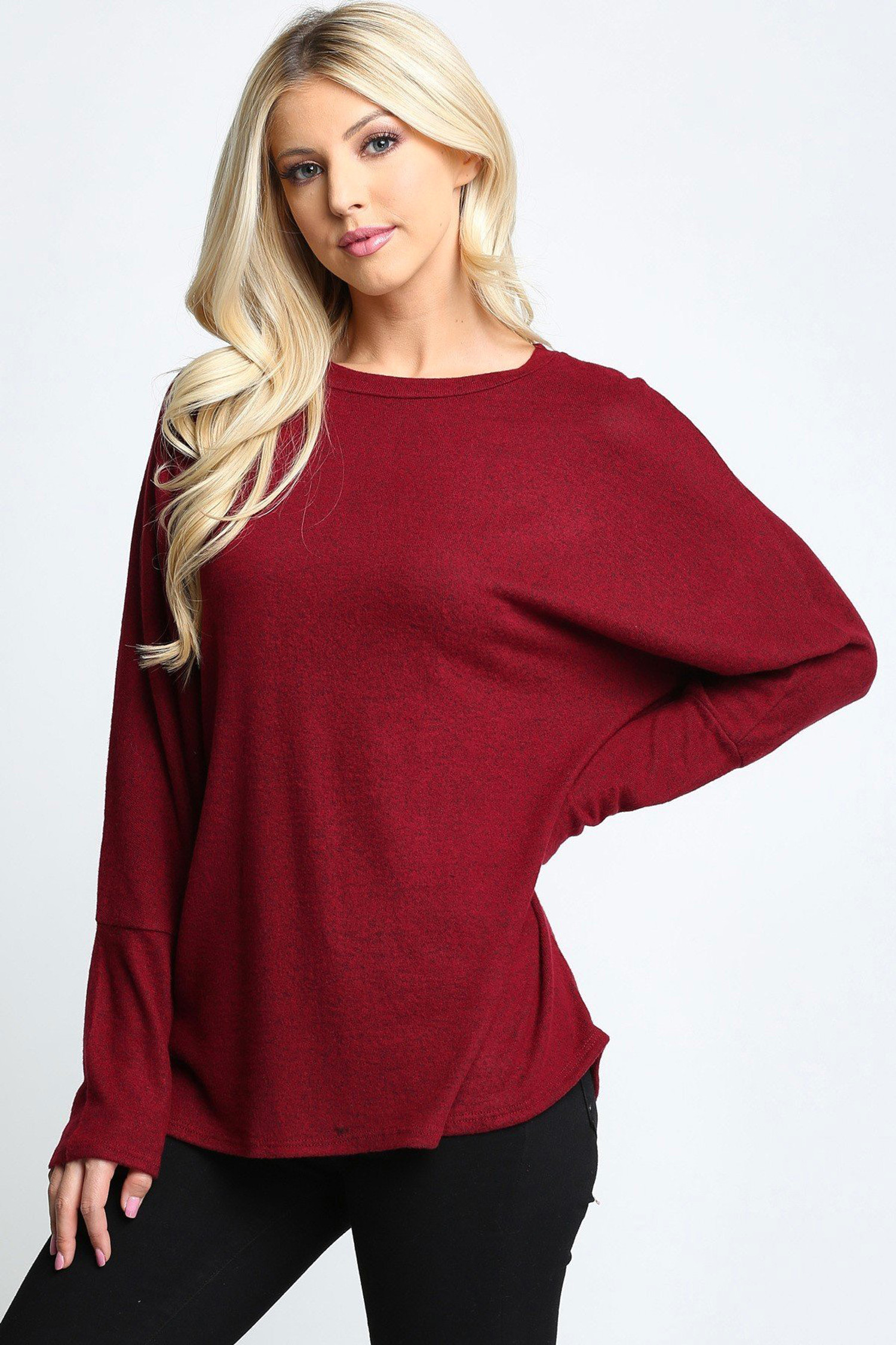 Burgundy Solid Long Sleeve Dolman Plus Size Top