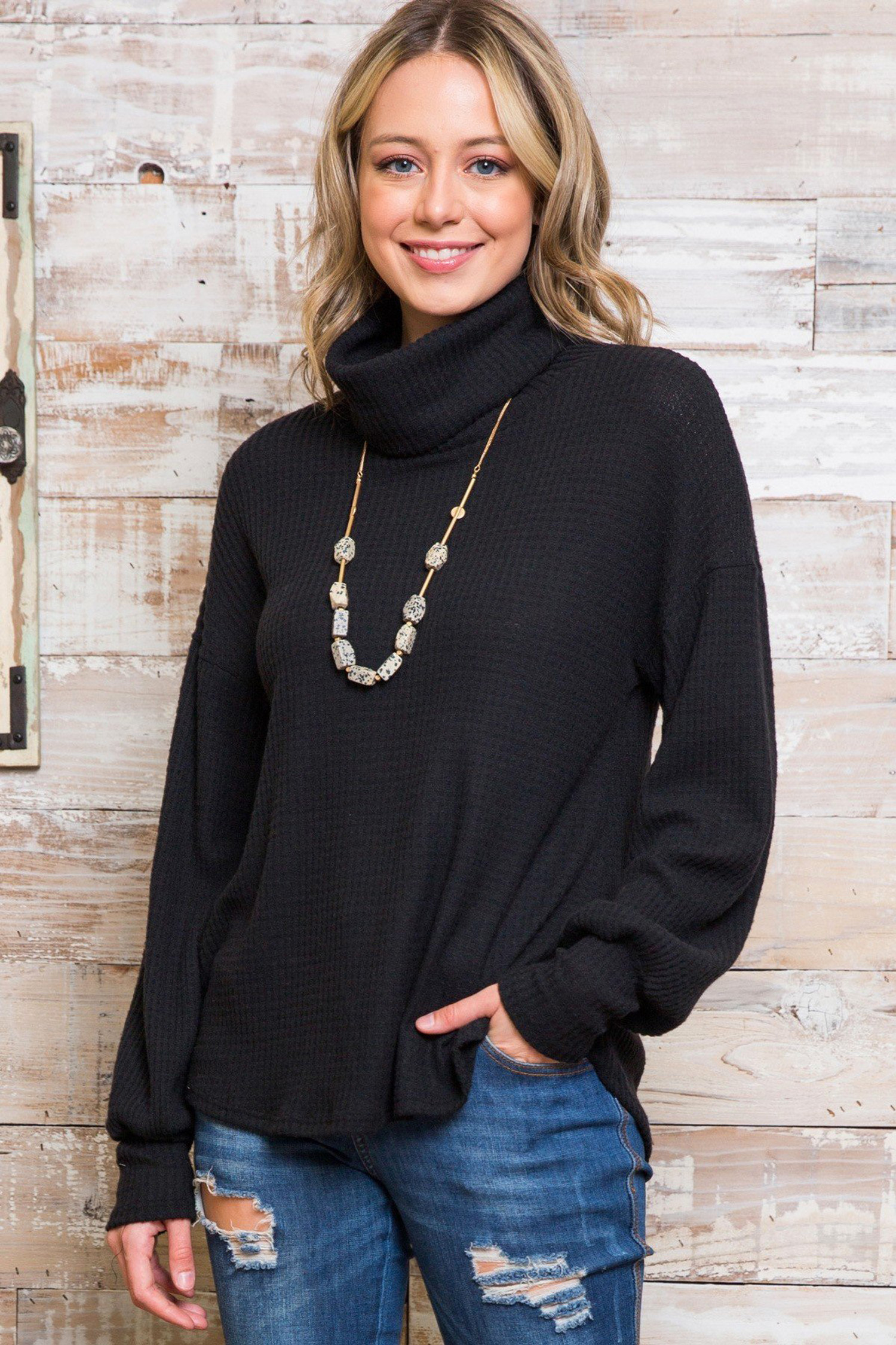Black Waffle Knit Cowl Neck Long Sleeve Plus Size Top
