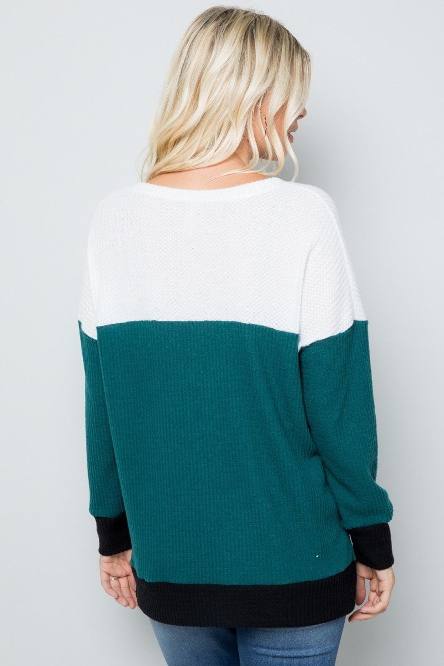 Hunter Green Waffle Knit Color Blocked Long Sleeve V Neck Top