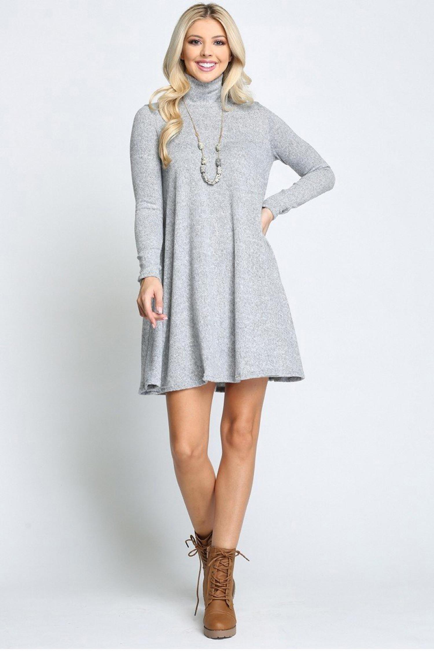Heather Grey Long Sleeve Hacci Knit Mock Neck Plus Size Swing Dress