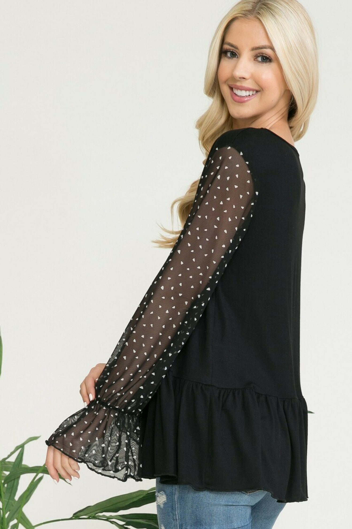 Black Speckled Mesh Sleeve Pleated Hem Bell Cuff Top