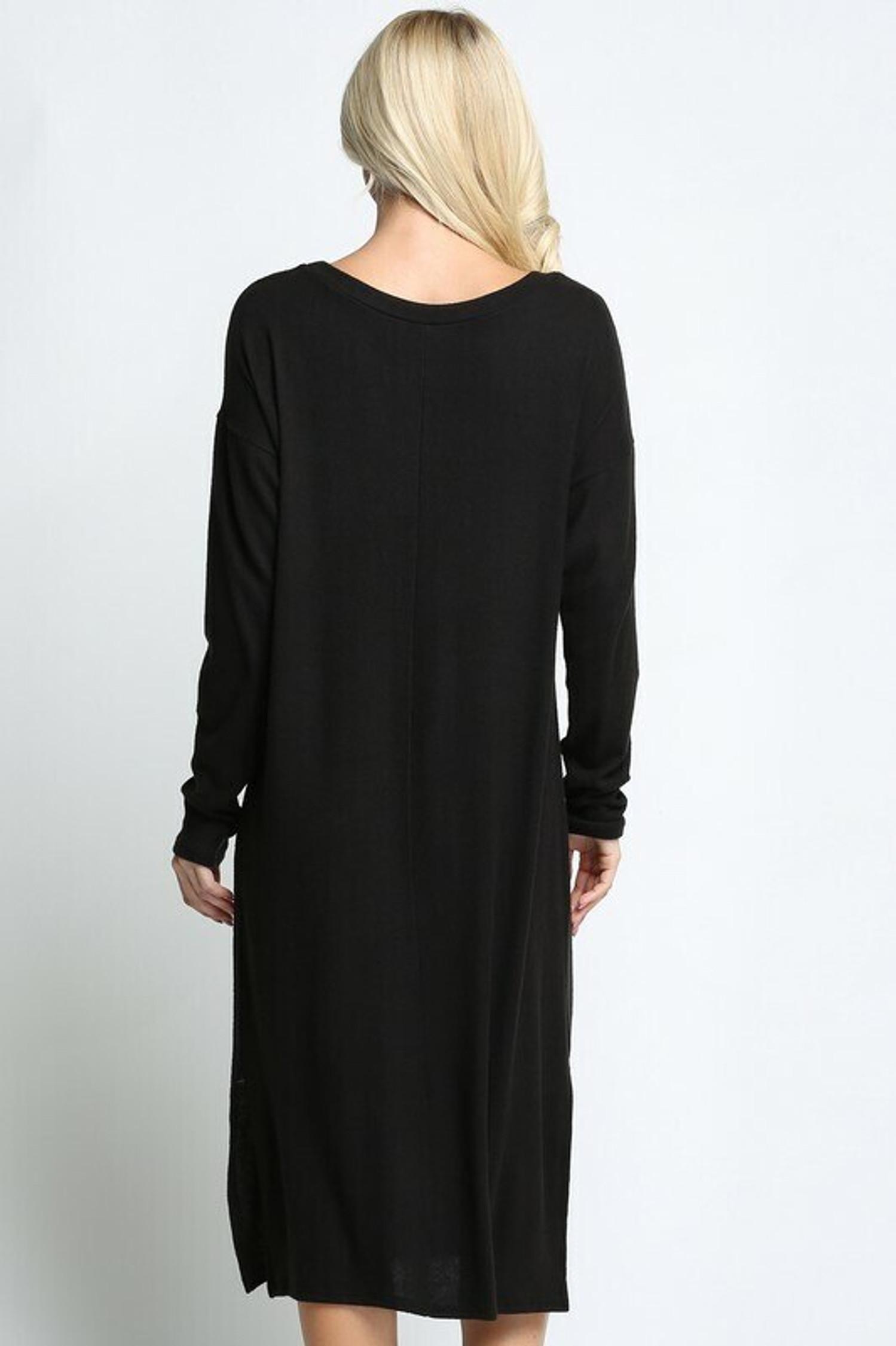 Black Long Sleeve Side Slit Midi Length Sweater Dress