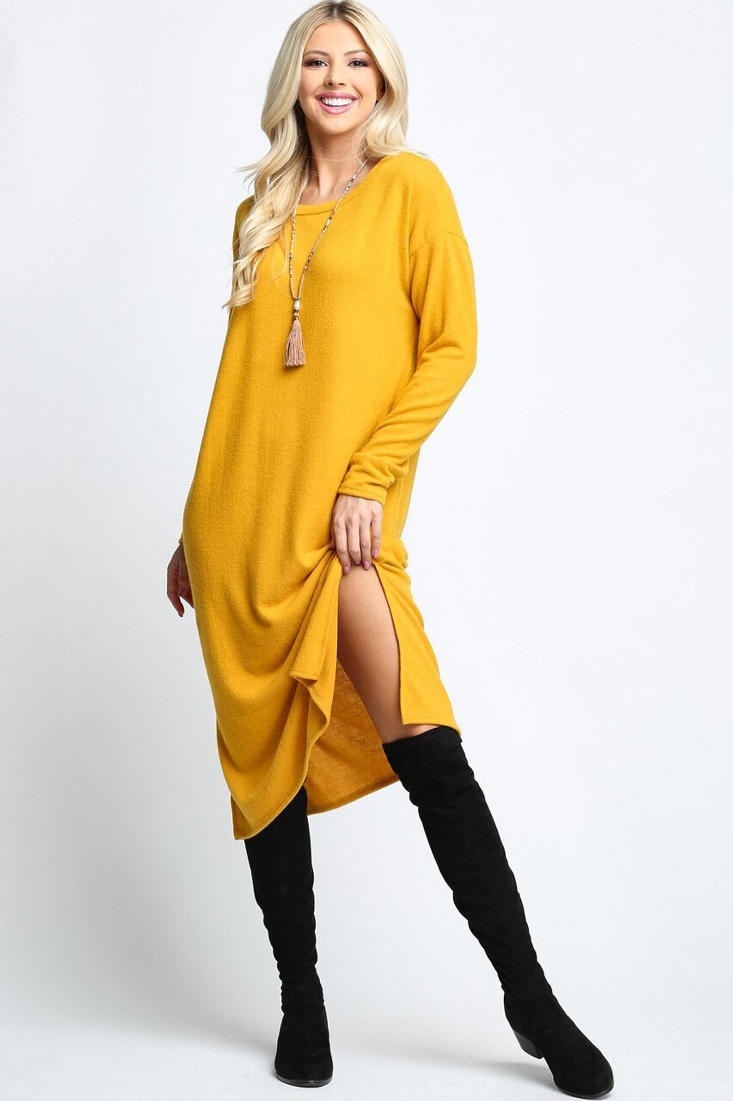 Mustard Long Sleeve Side Slit Midi Length Sweater Dress