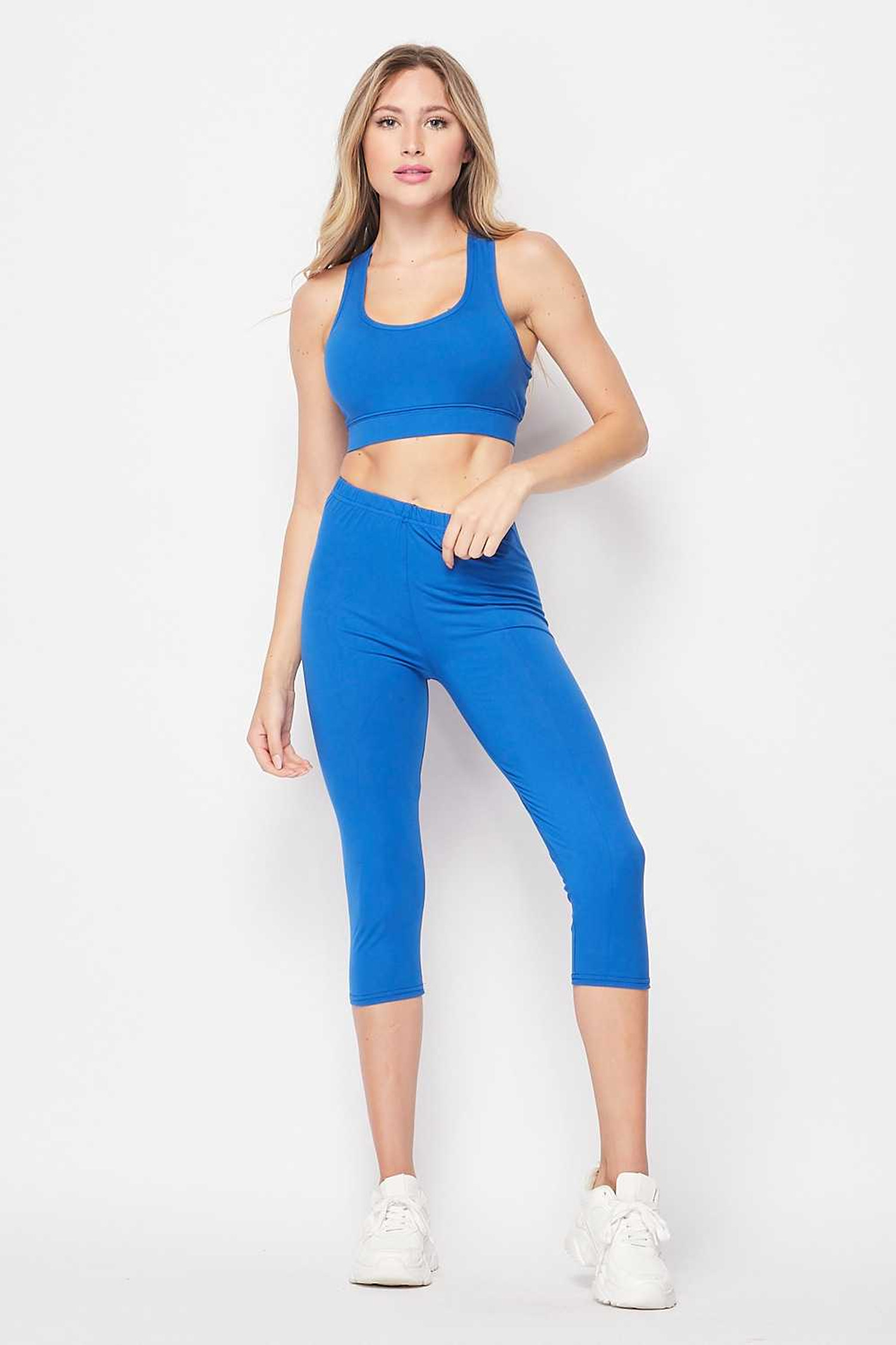 Buttery Soft Basic Solid Capri and Crop Top Set