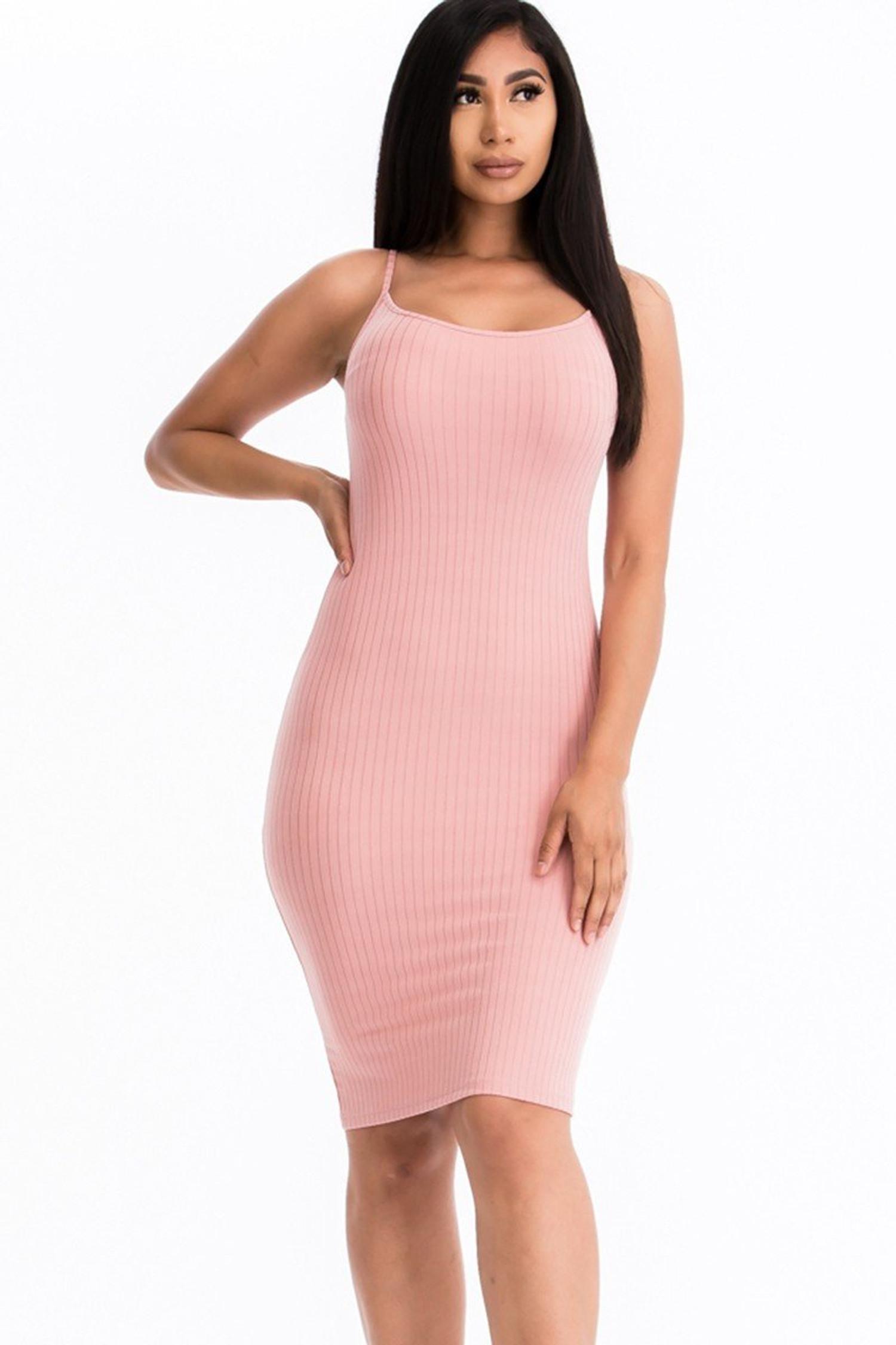Spaghetti Strap Rib Knit Bodycon Cami Dress