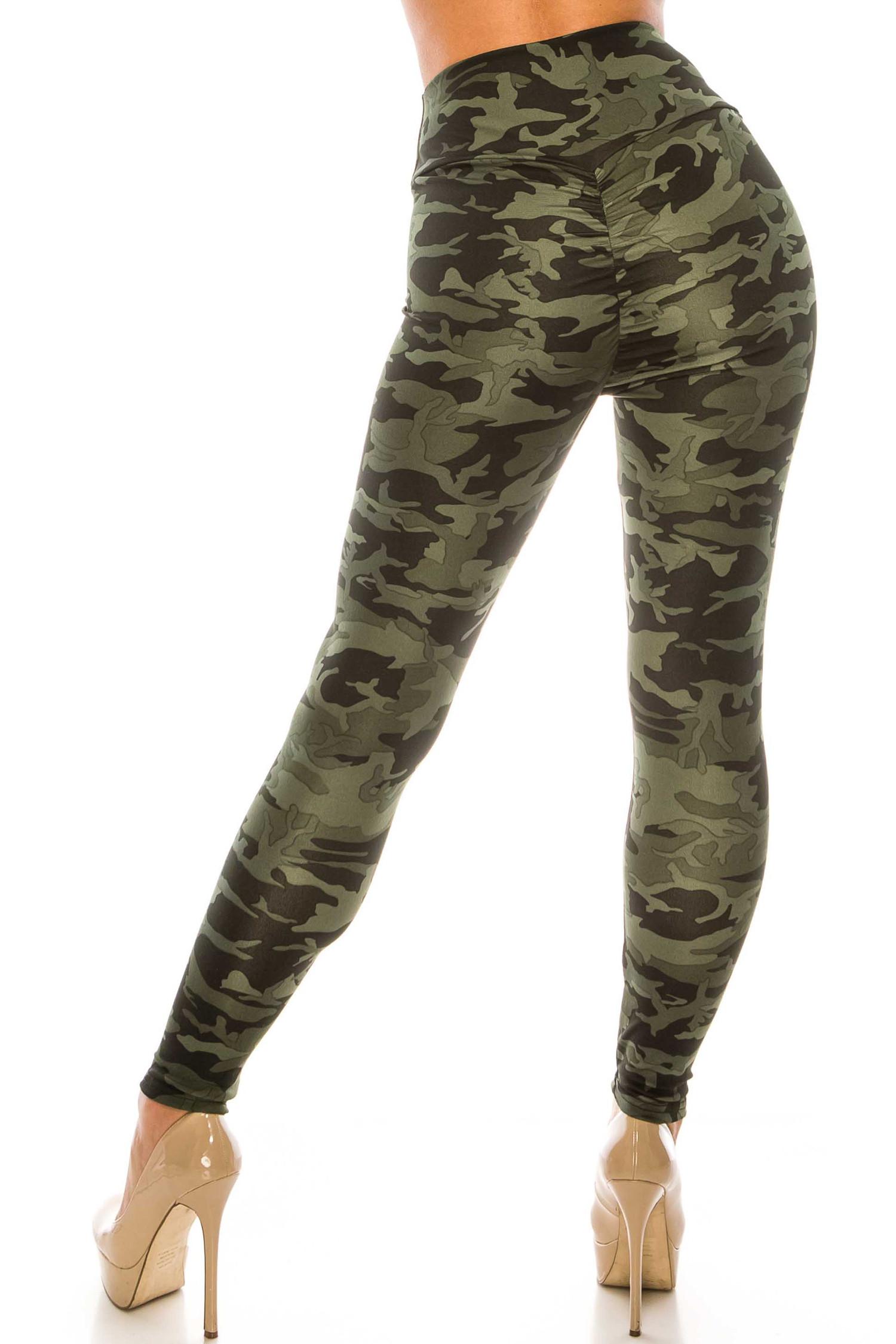 Dark Olive Camouflage Scrunch Butt Sport Leggings