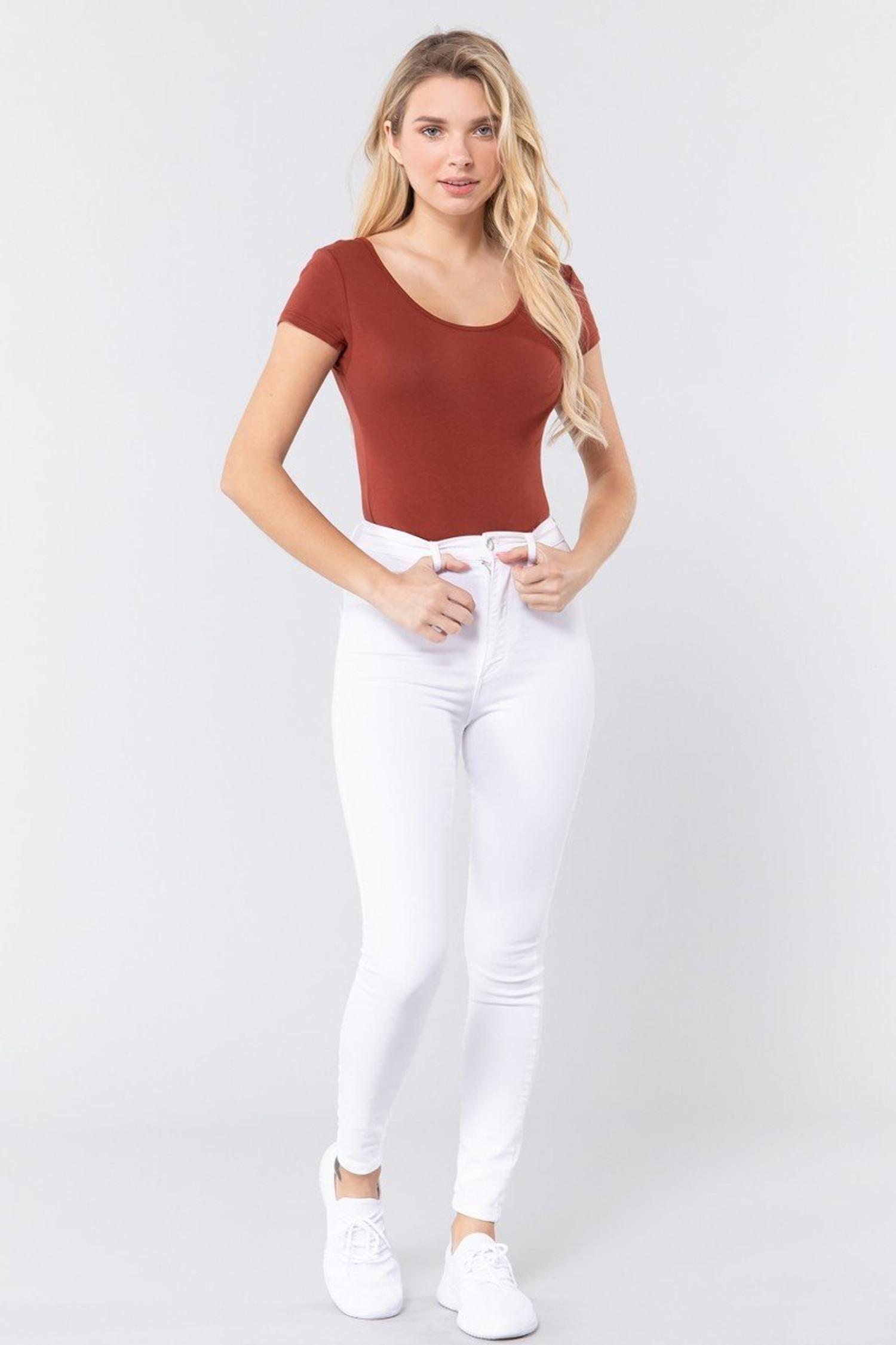 Rust Basic Solid Short Sleeve Scoop Neck Cotton Bodysuit