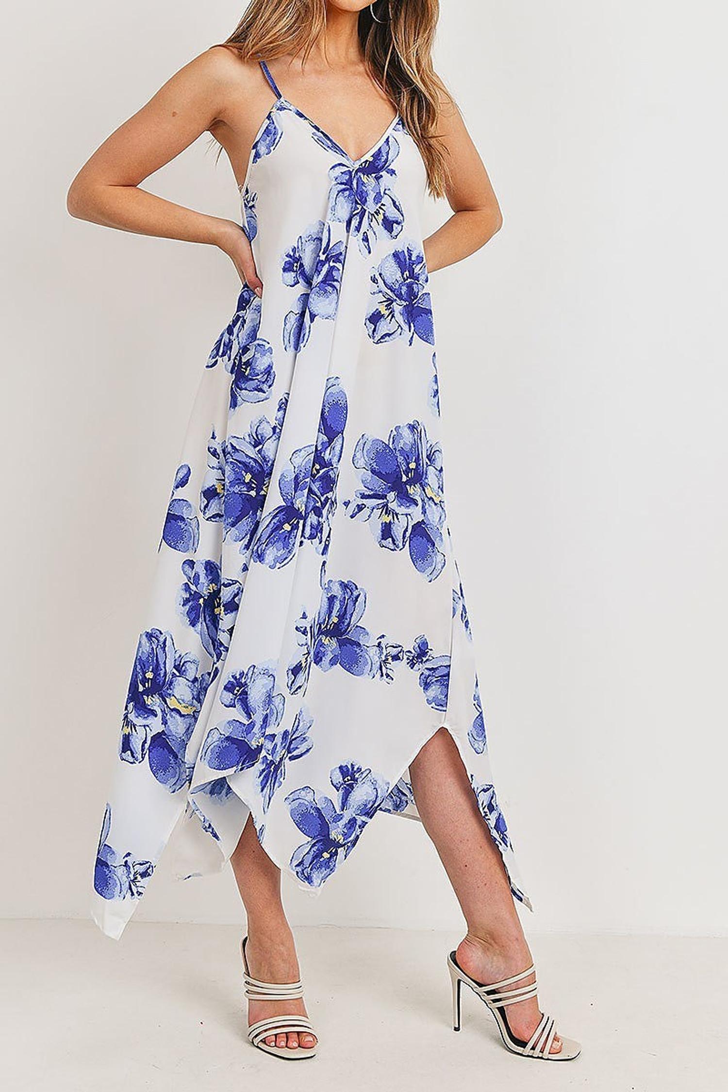 Blue Floral Tie Back Asymmetrical Hem Maxi Dress