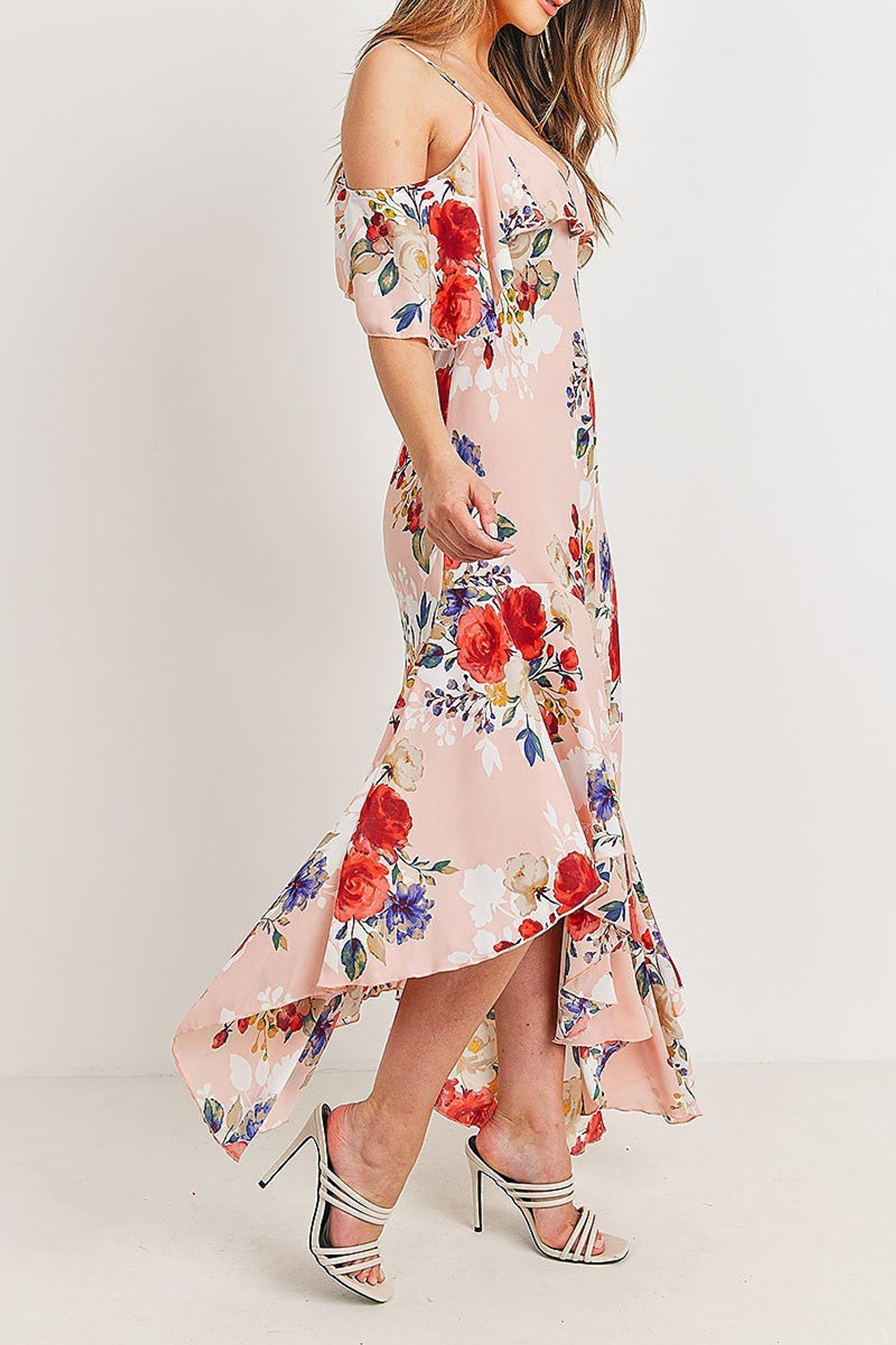 Pink Off the Shoulder Floral Print Asymmetrical Hem Maxi Dress
