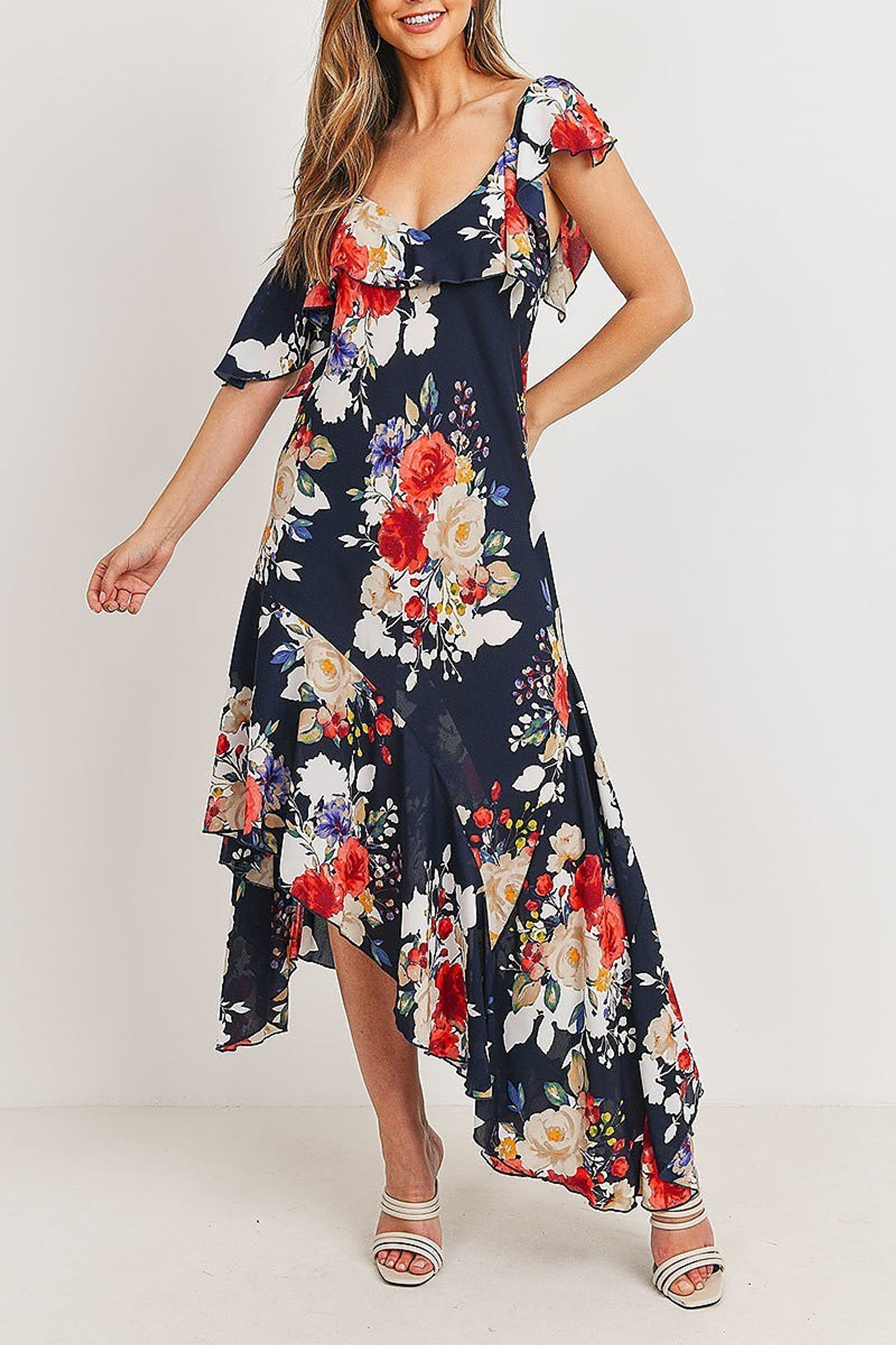 Navy Off the Shoulder Floral Print Asymmetrical Hem Maxi Dress