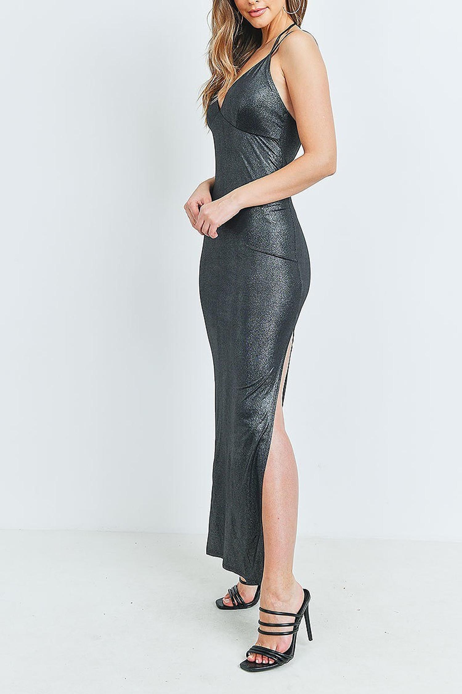 Black Metallic Side Slit Halter V Neck Bodycon Maxi Dress