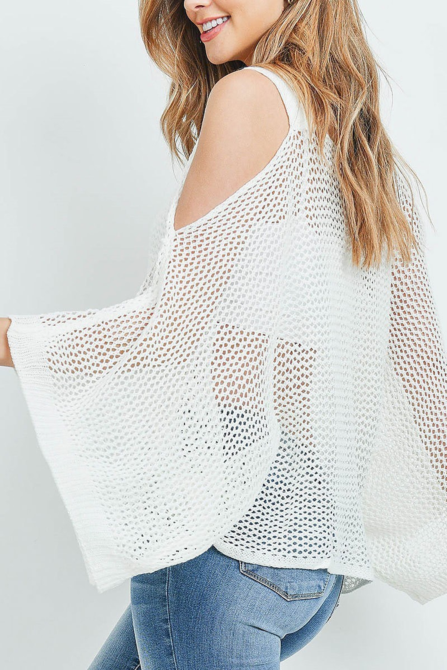 Off WhiteCrochet Wide Sleeve Cold Shoulder Top
