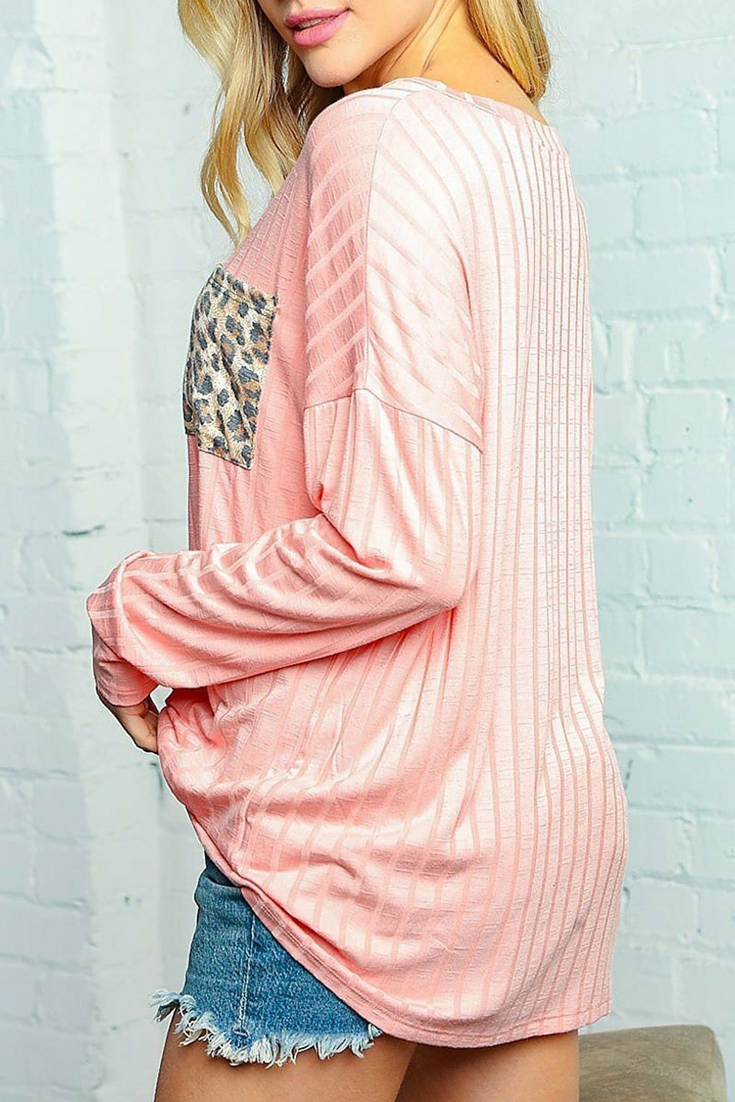 Peach Leopard Accent Pocket Long Sleeve V-Neck Rib Knit Plus Size Top