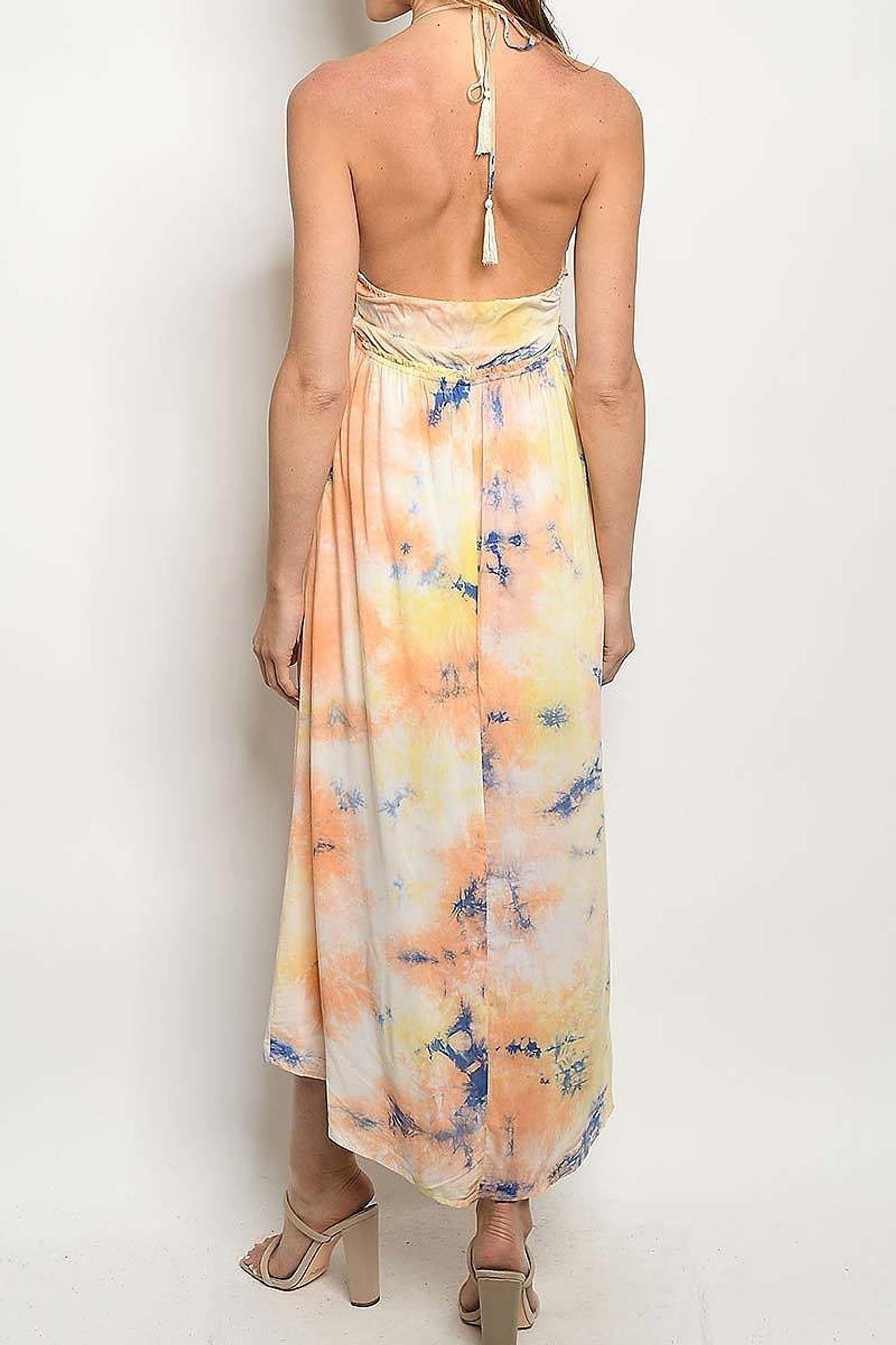 Slit Front Tie Dye Smocked Plunging Halter Neck Midi Dress
