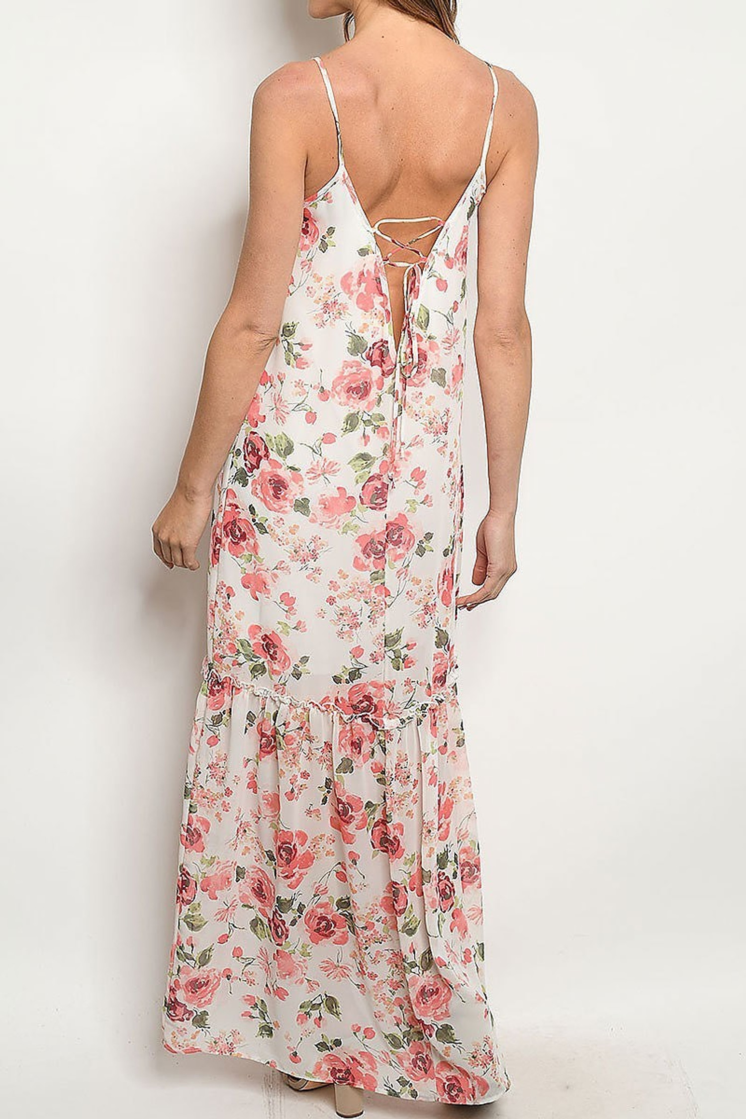 Low V Crisscross Back Rose Print Maxi Dress with Spaghetti Straps
