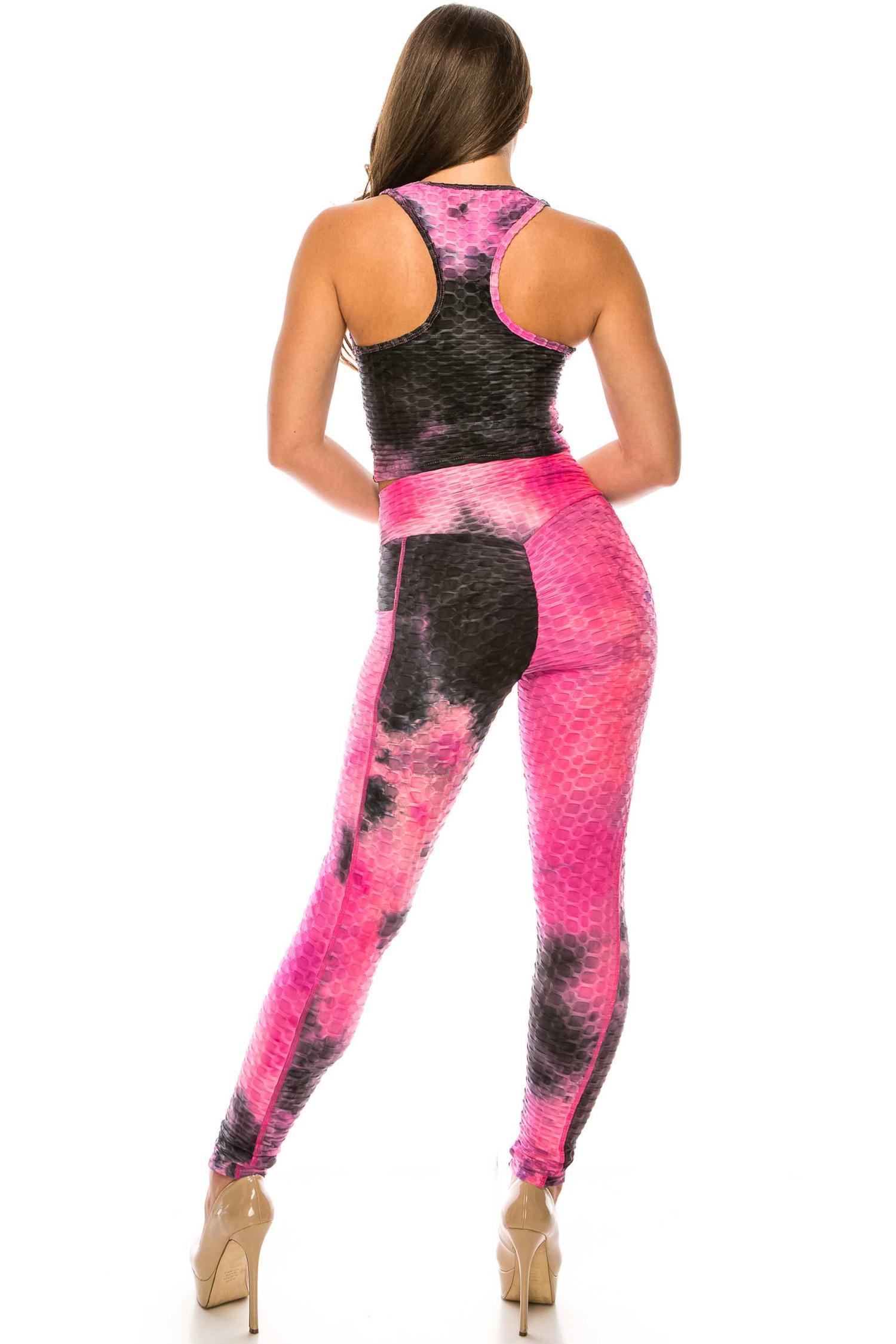 2 Piece Scrunch Butt Sport Leggings and Crop Top Set with Pockets