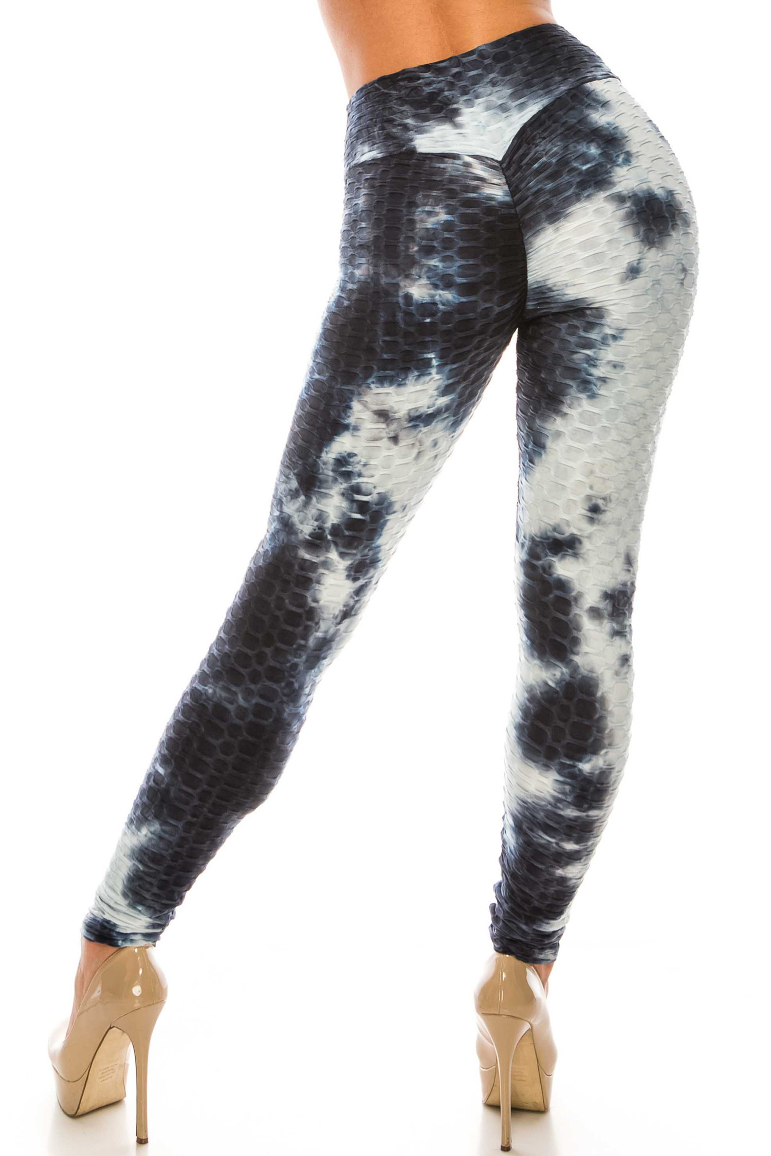 Navy and White Tie Dye Scrunch Butt Sport Leggings