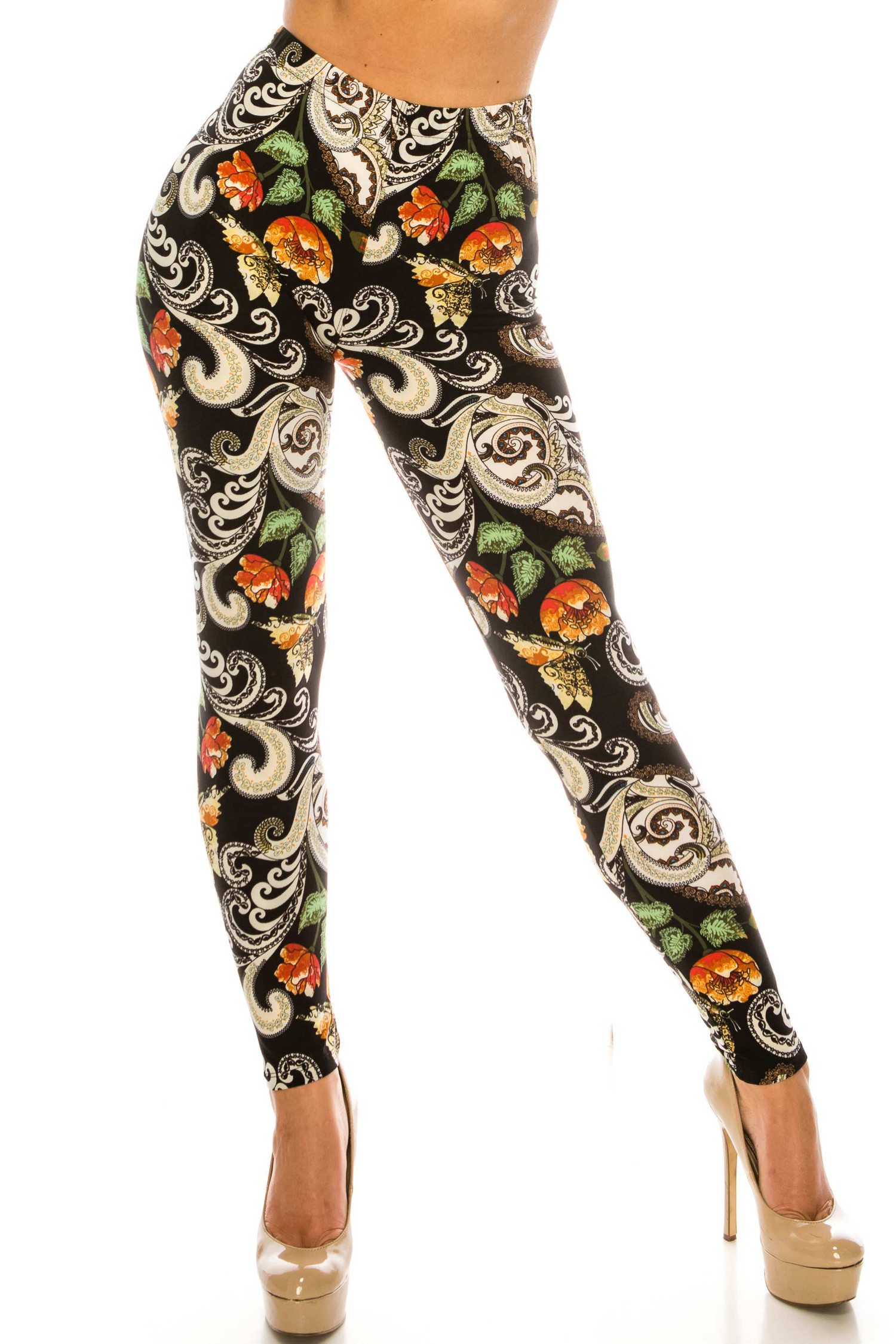 Buttery Soft Brushed Elegant Floral Plus Size Leggings