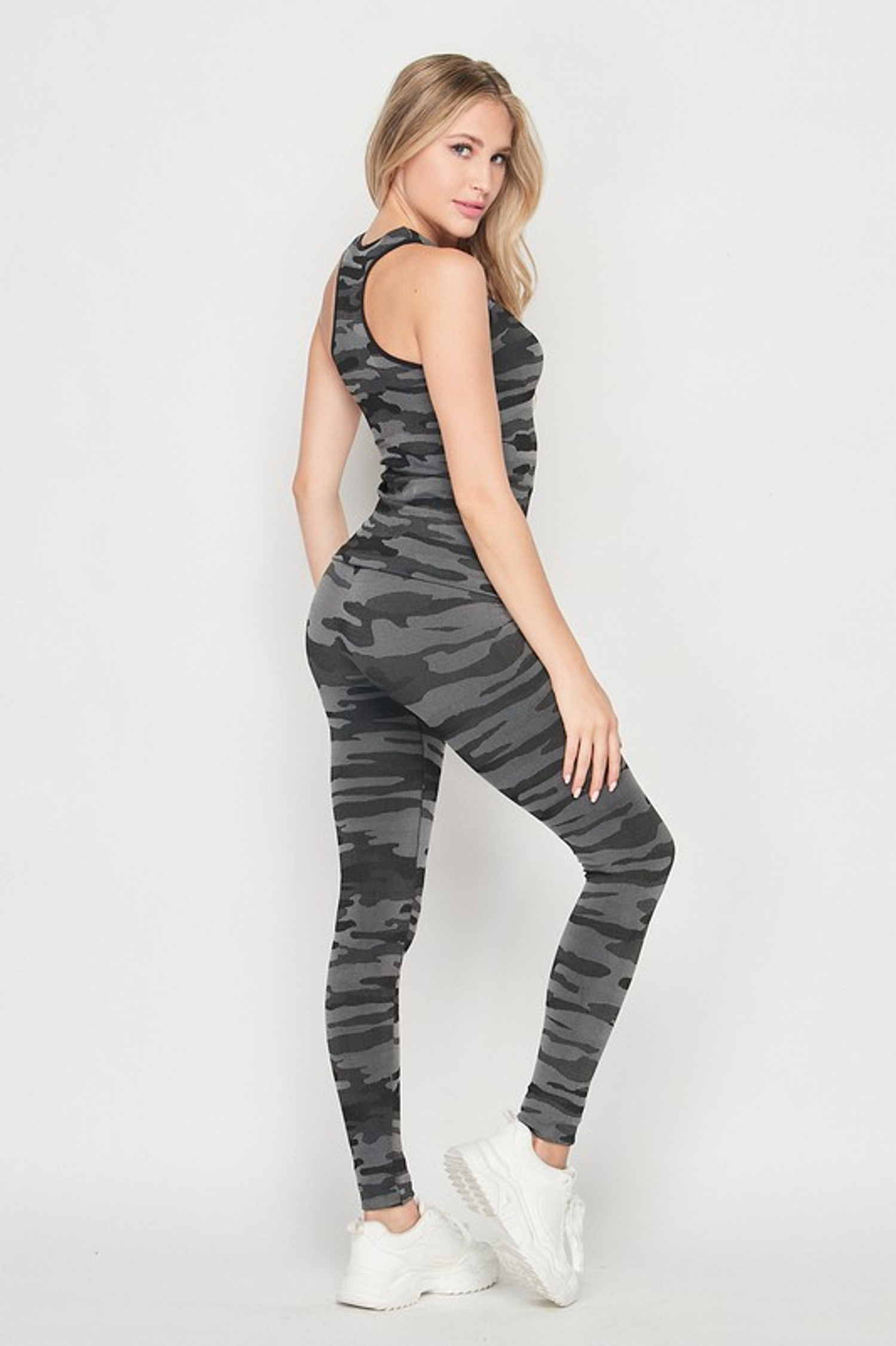 2 Piece Seamless Charcoal Camouflage Tank Top and Legging Set