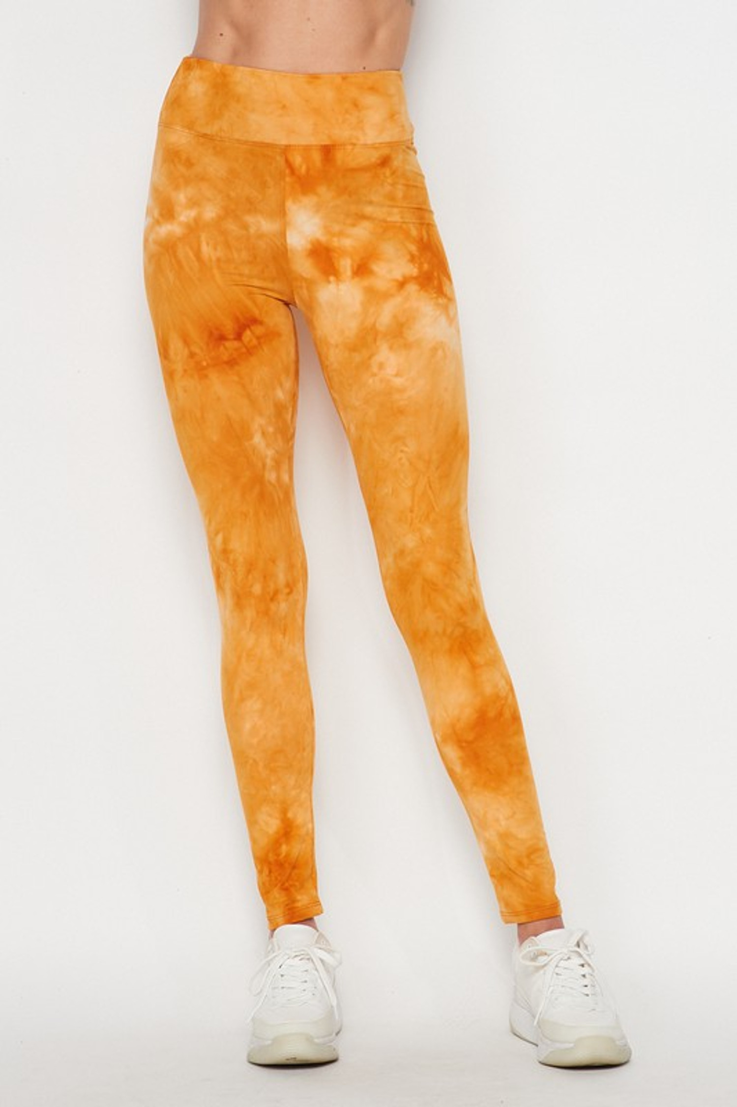Front of Mustard Buttery Soft Tie Dye High Waisted Leggings