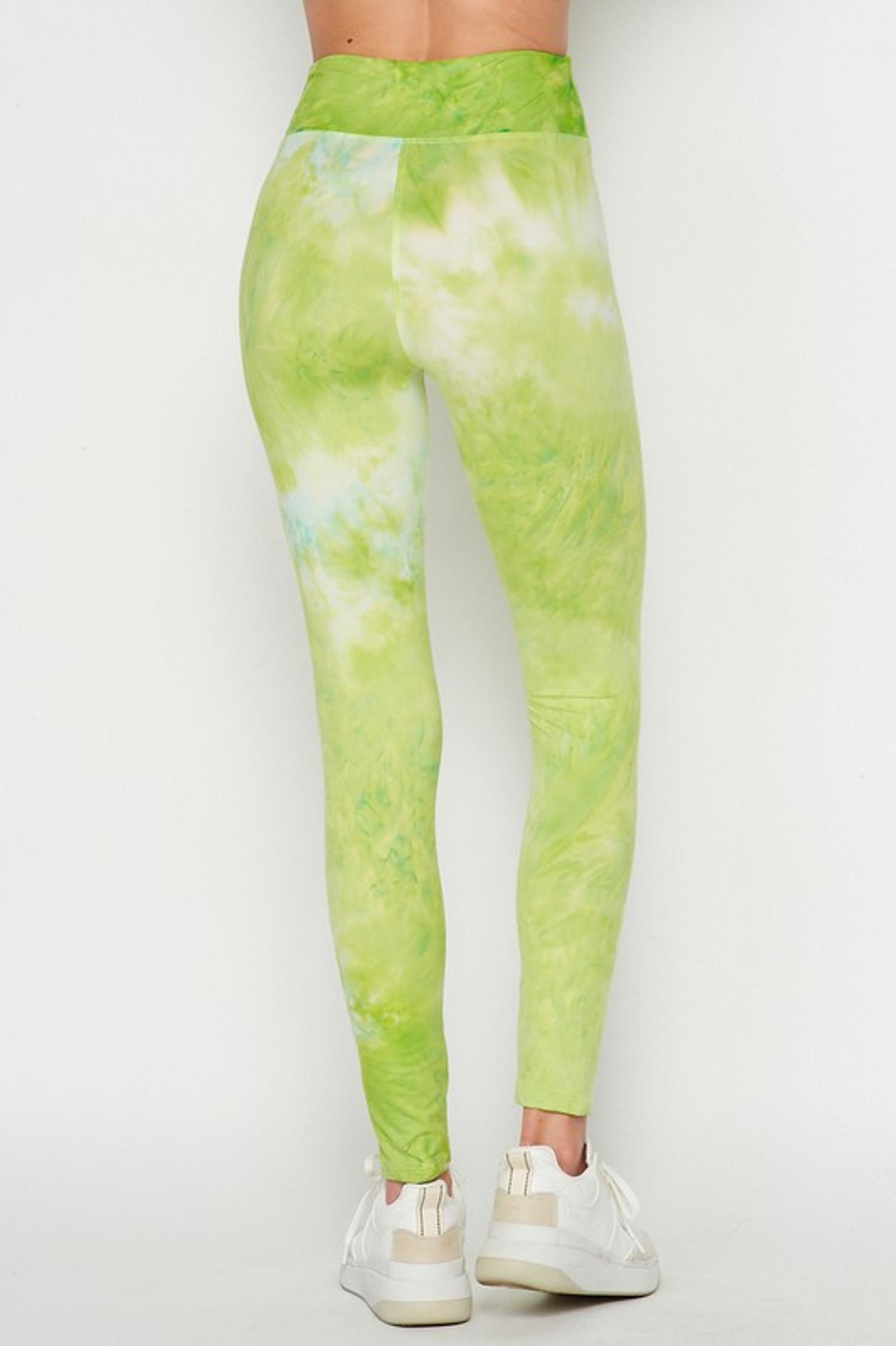 Back of Lime Buttery Soft Tie Dye High Waisted Leggings