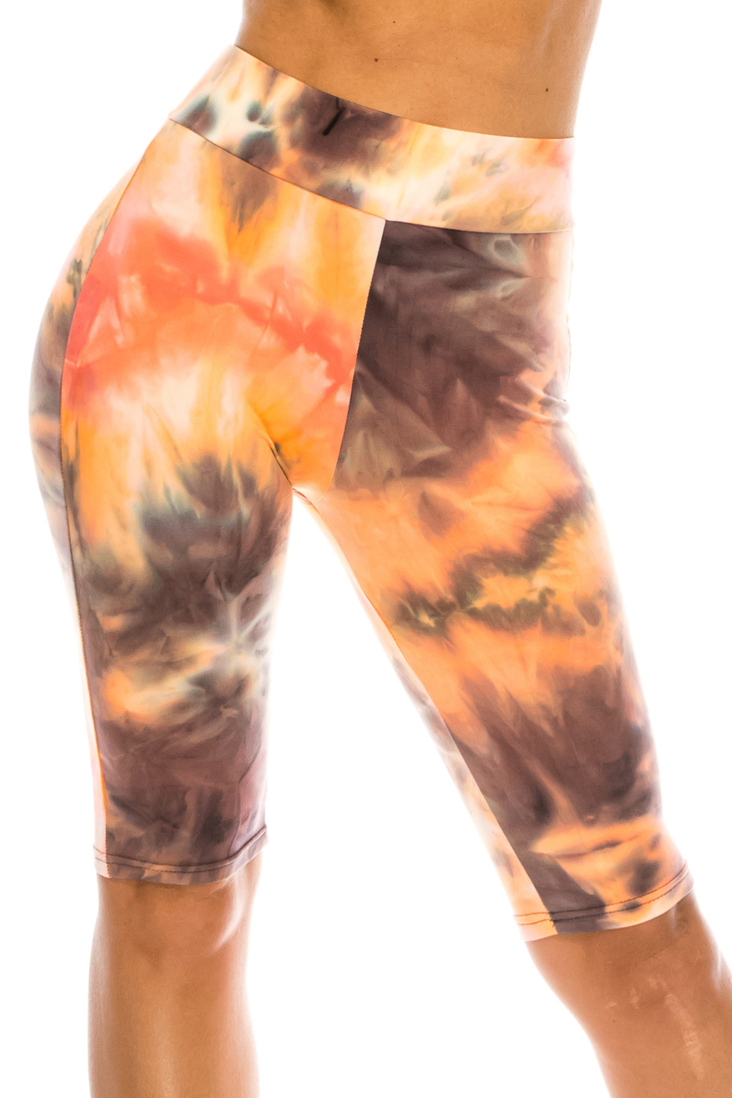 Buttery Soft Creamsicle Tie Dye High Waisted Biker Shorts - 3 Inch Waist