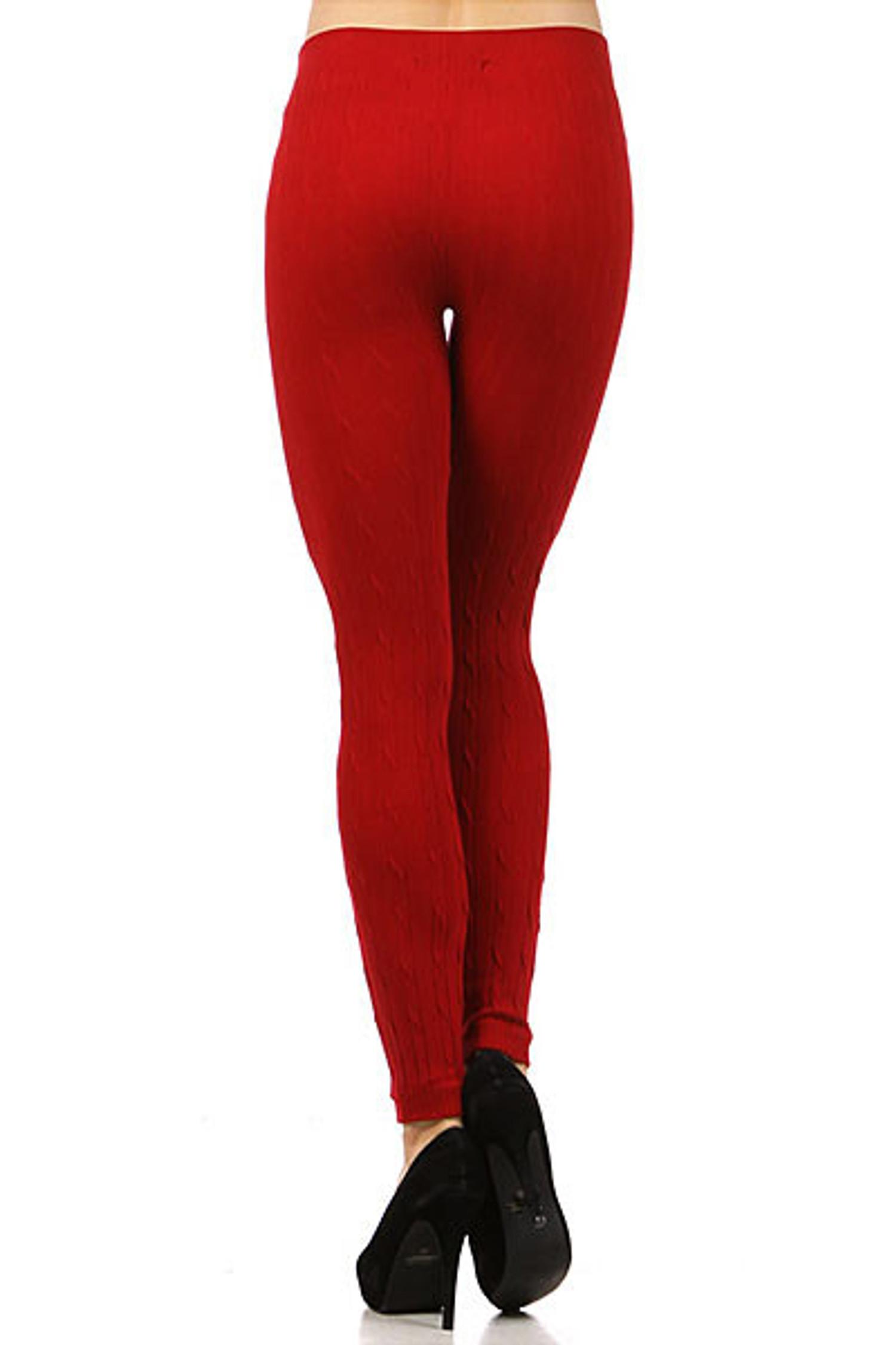 Red Seamless Sweater Leggings