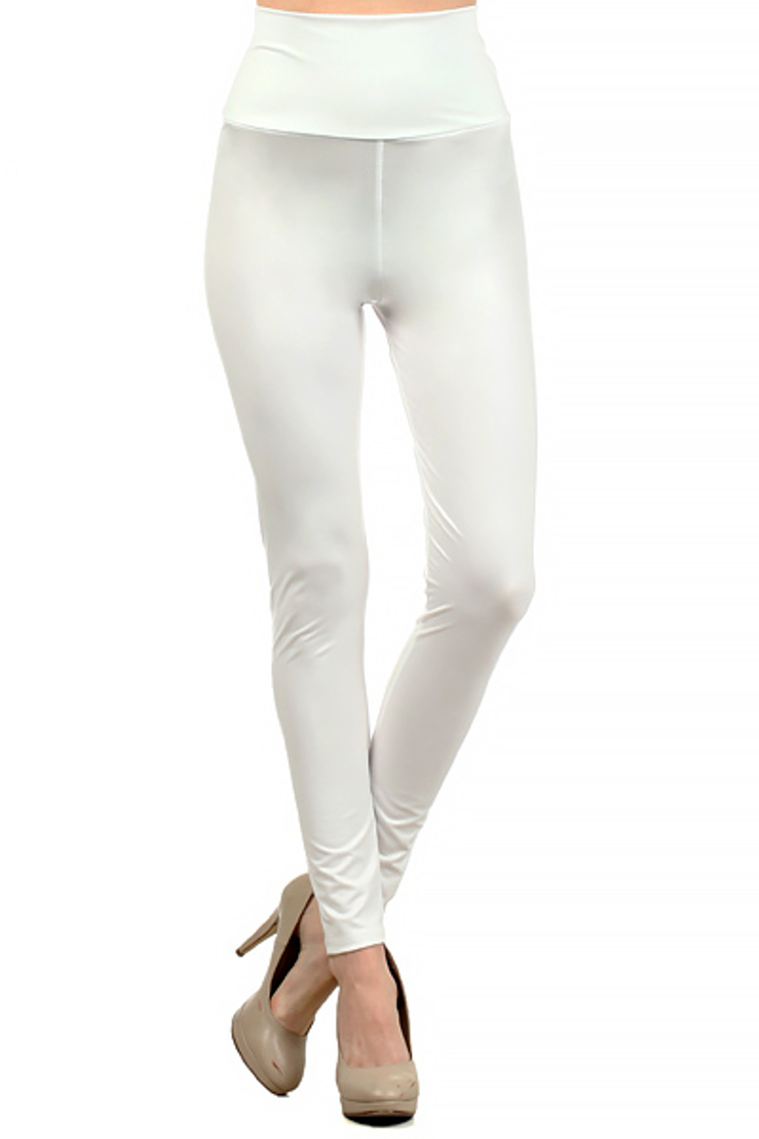 Matte High Waisted Ivory Faux Leather Leggings