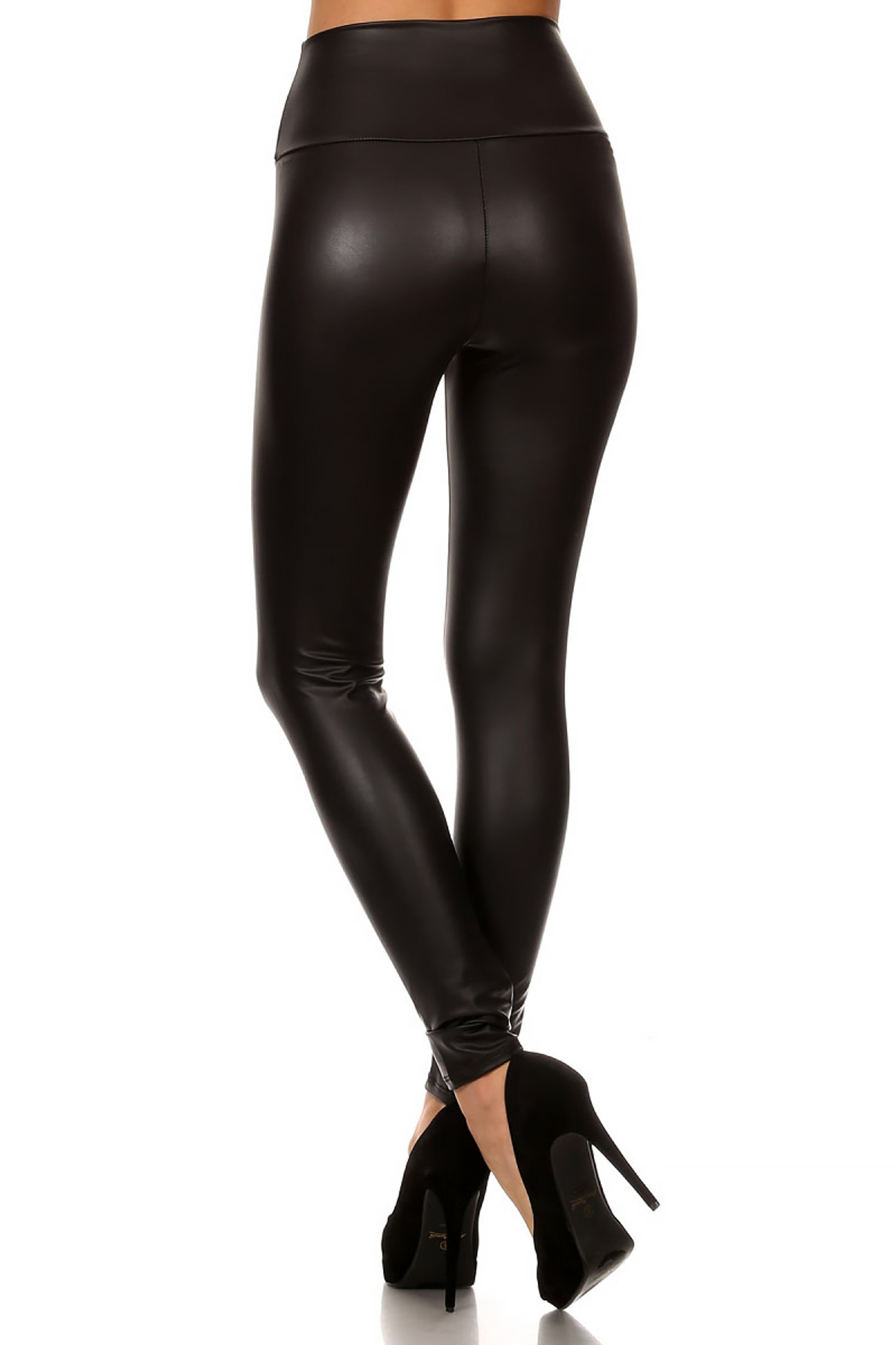 Matte High Waisted Faux Leather Leggings