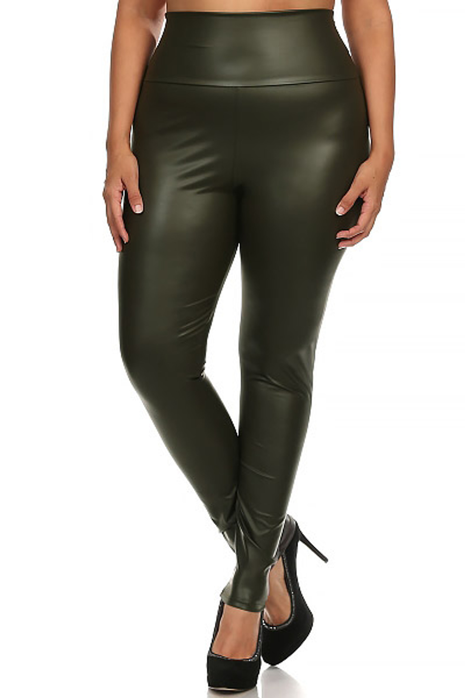 Matte High Waisted Olive Faux Leather Plus Size Leggings